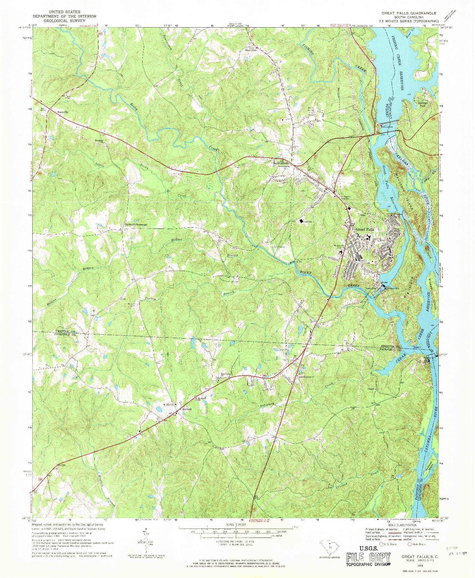 USGS 1:24000-SCALE QUADRANGLE FOR GREAT FALLS, SC 1969