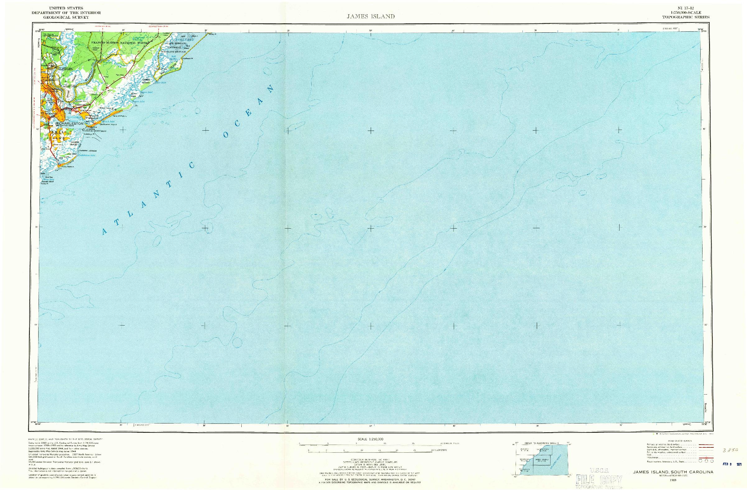 USGS 1:250000-SCALE QUADRANGLE FOR JAMES ISLAND, SC 1969