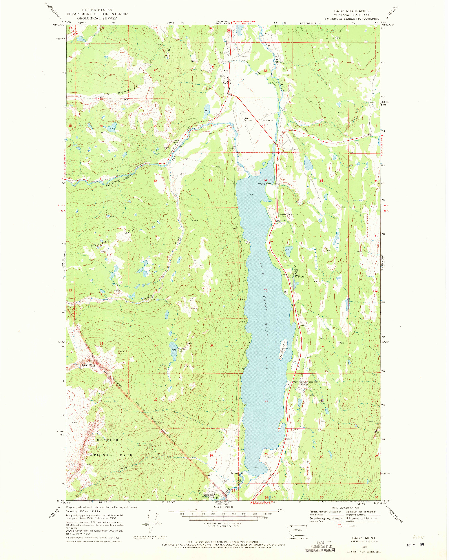 USGS 1:24000-SCALE QUADRANGLE FOR BABB, MT 1968