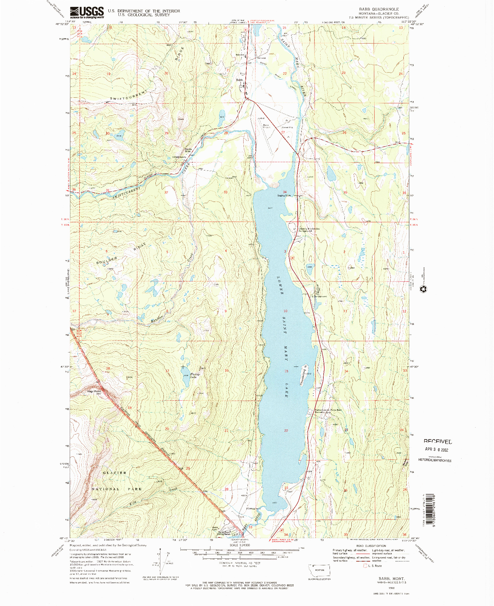 USGS 1:24000-SCALE QUADRANGLE FOR BABB, MT 1968