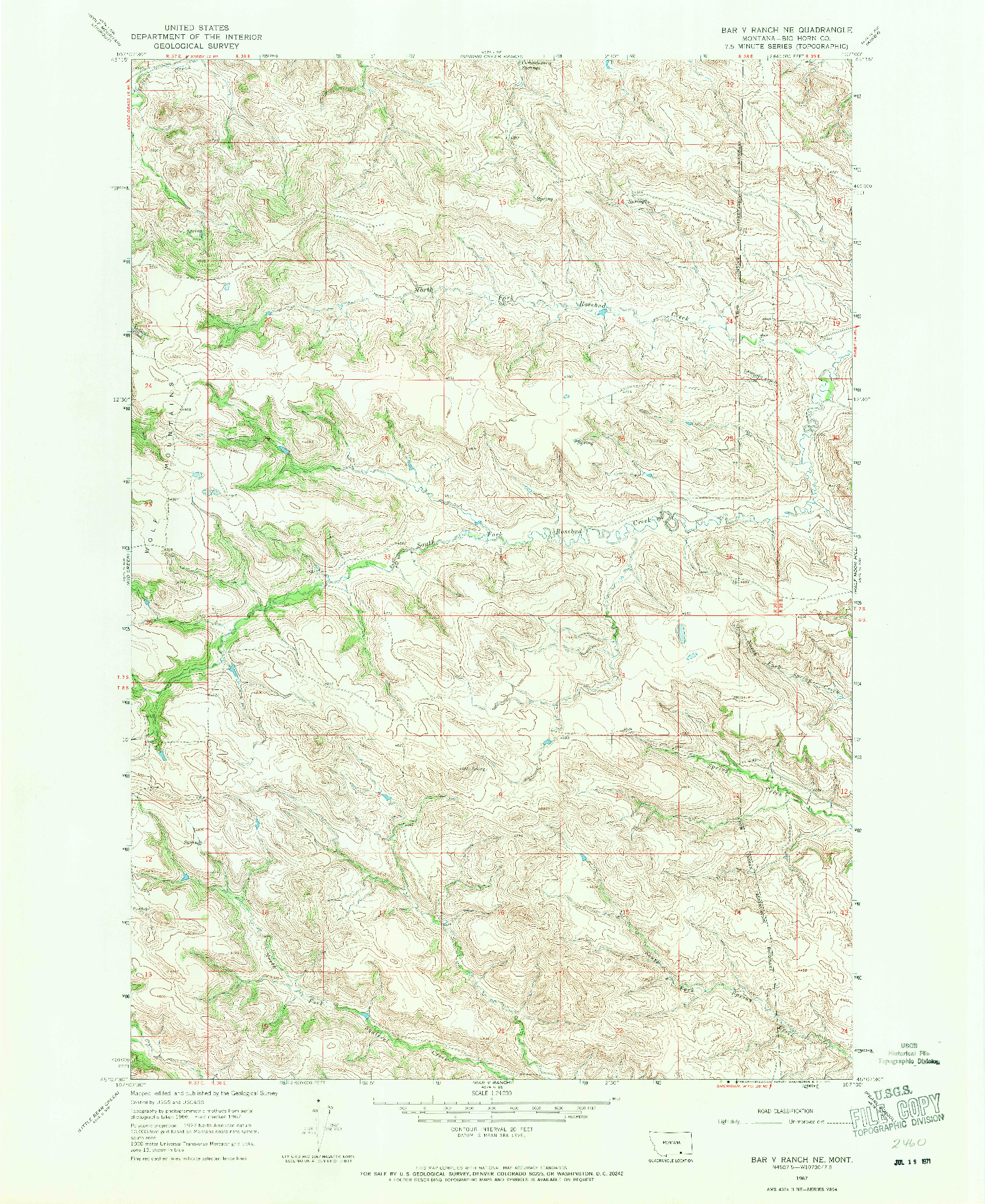 USGS 1:24000-SCALE QUADRANGLE FOR BAR V RANCH NE, MT 1967