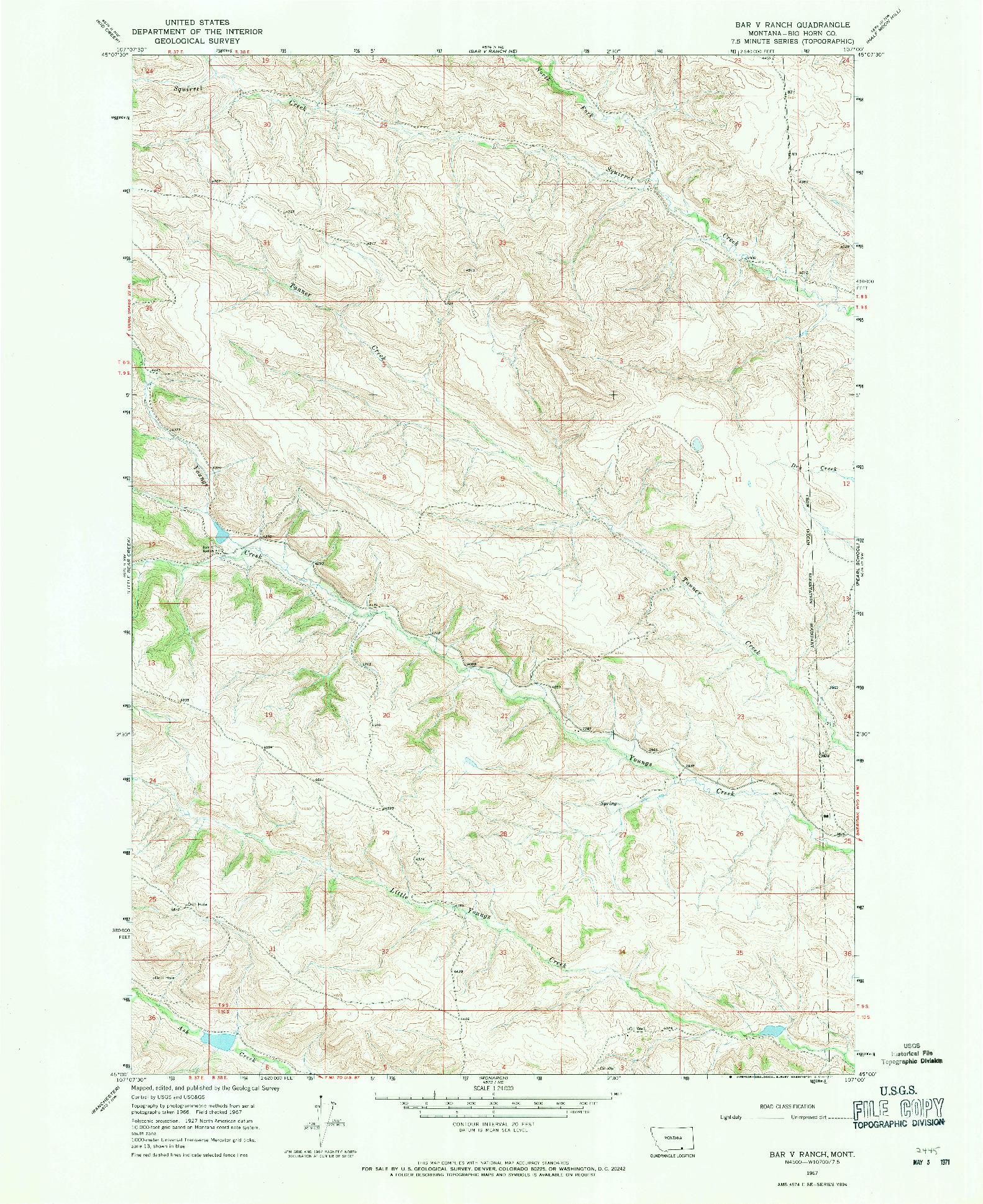 USGS 1:24000-SCALE QUADRANGLE FOR BAR V RANCH, MT 1967