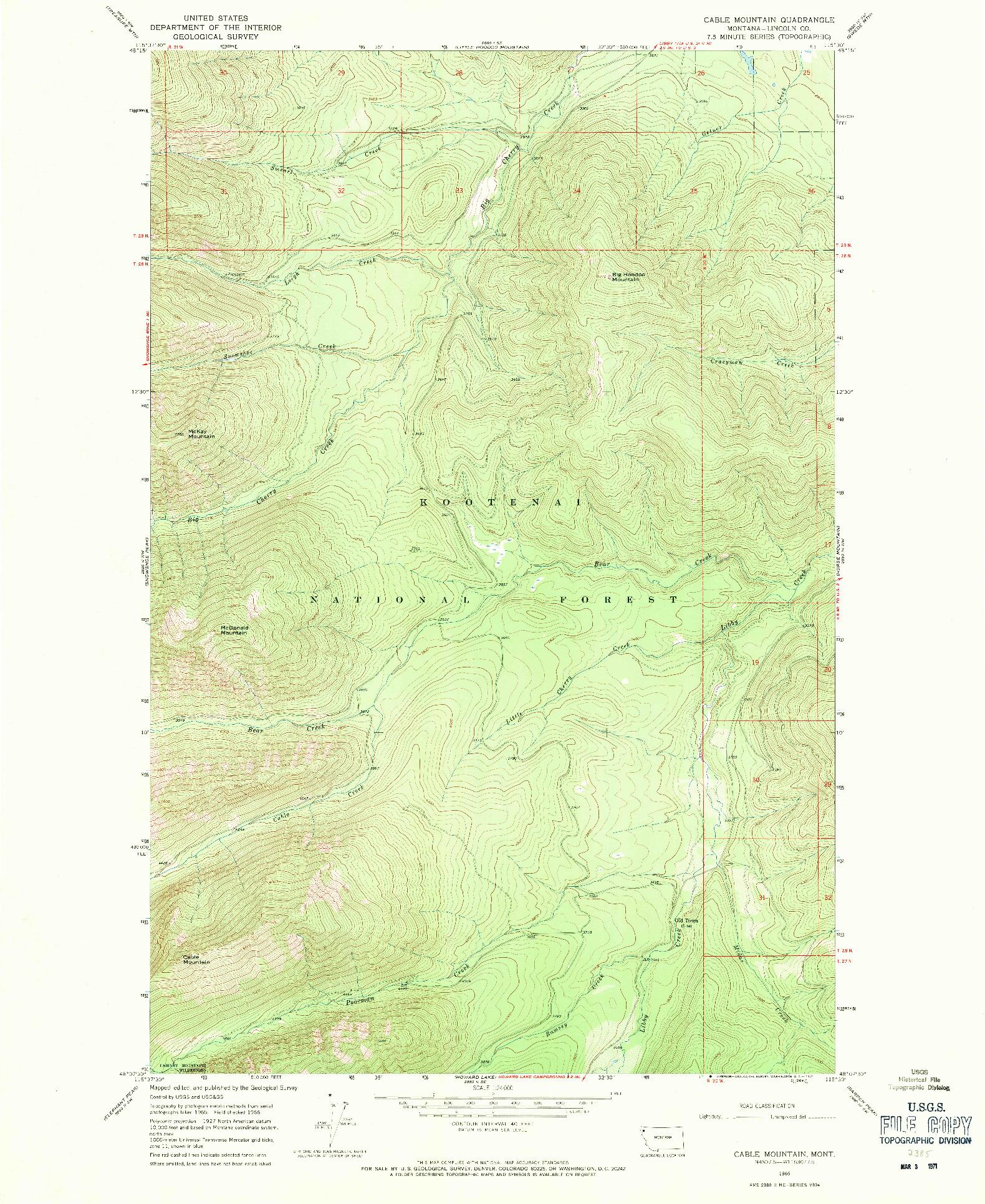 USGS 1:24000-SCALE QUADRANGLE FOR CABLE MOUNTAIN, MT 1966