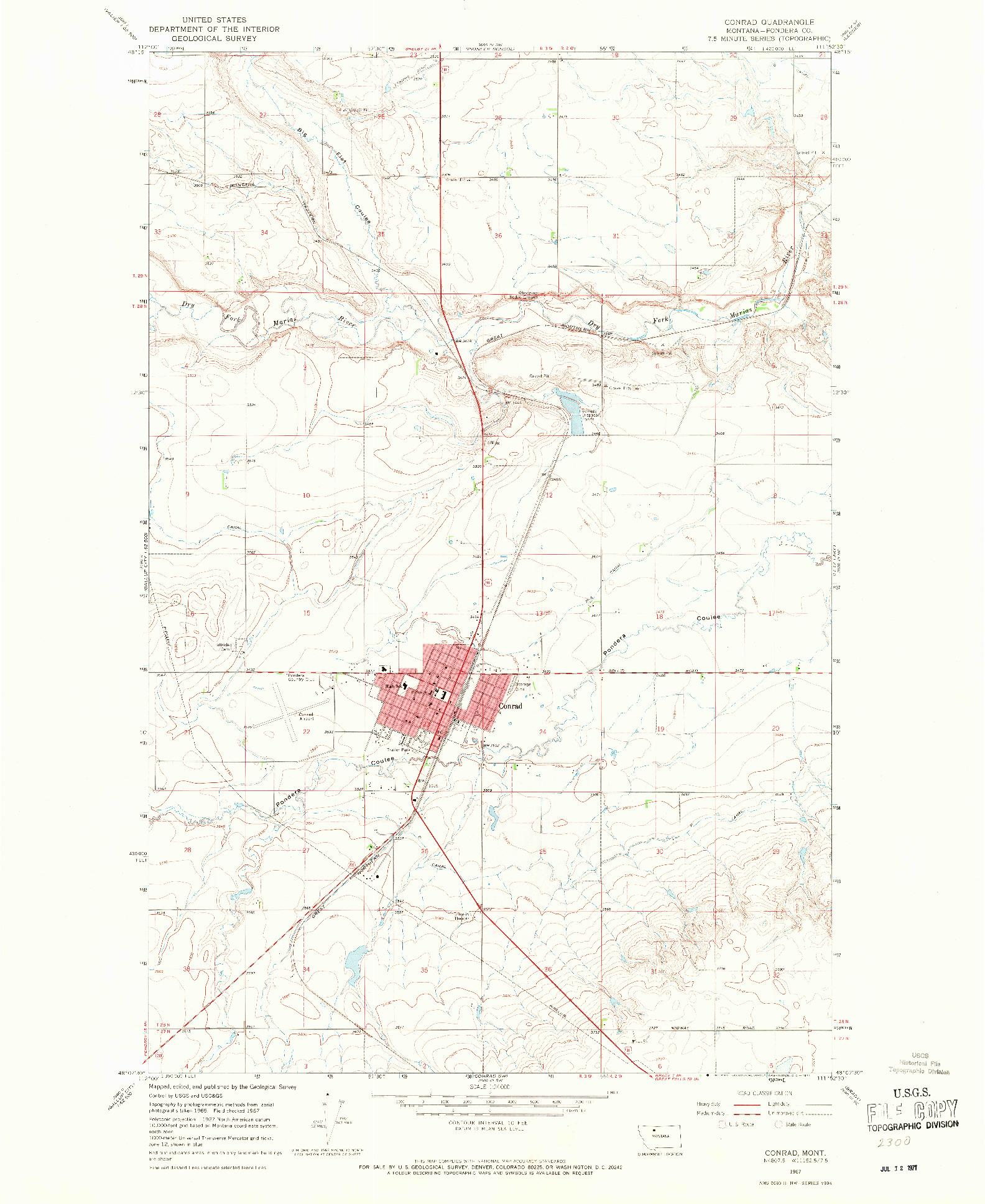 USGS 1:24000-SCALE QUADRANGLE FOR CONRAD, MT 1967