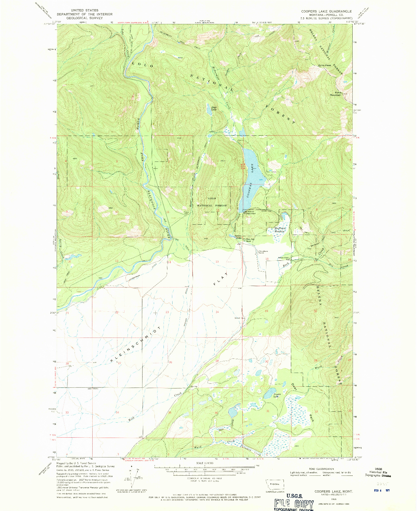 USGS 1:24000-SCALE QUADRANGLE FOR COOPERS LAKE, MT 1968