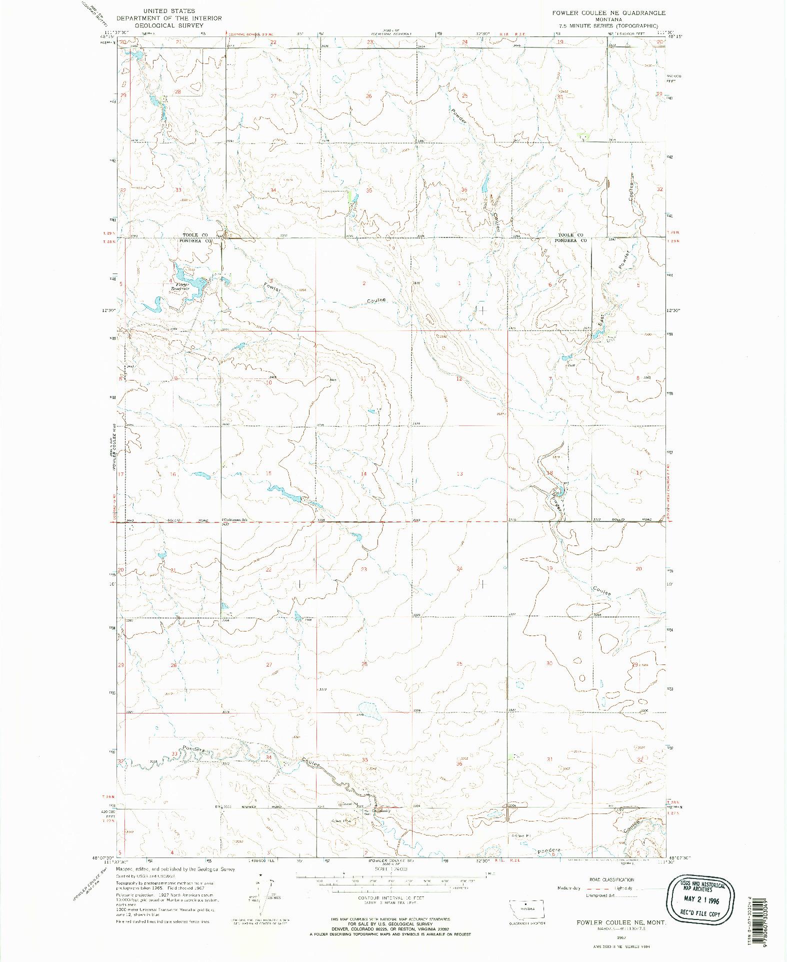 USGS 1:24000-SCALE QUADRANGLE FOR FOWLER COULEE NE, MT 1967
