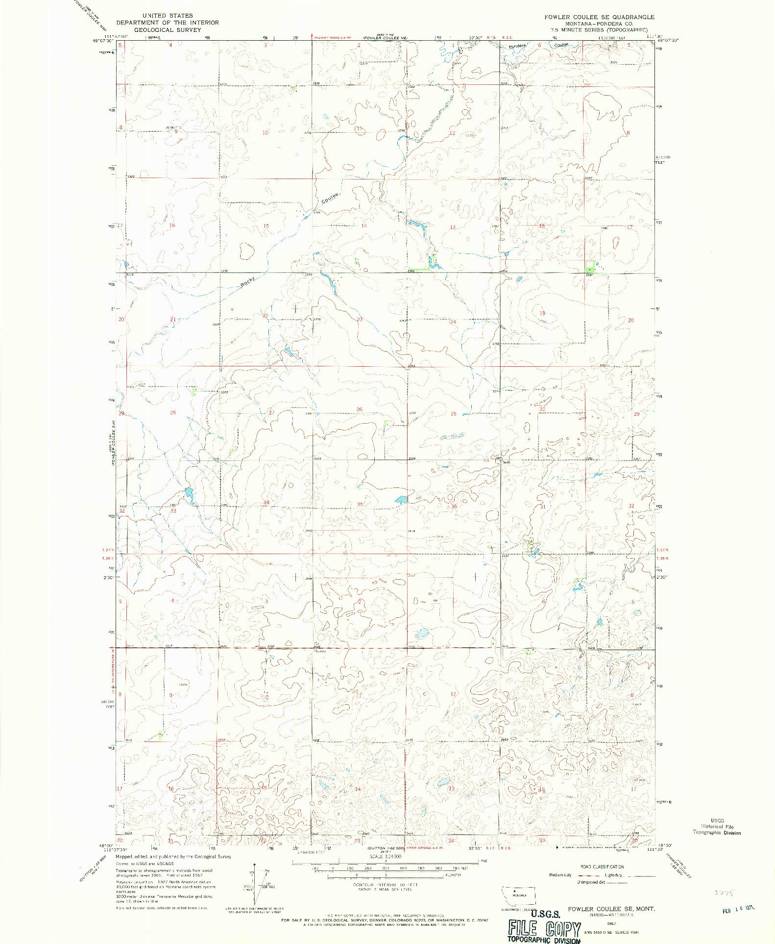 USGS 1:24000-SCALE QUADRANGLE FOR FOWLER COULEE SE, MT 1967