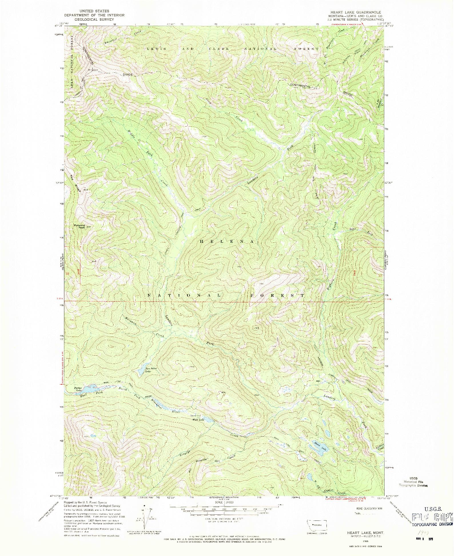 USGS 1:24000-SCALE QUADRANGLE FOR HEART LAKE, MT 1968