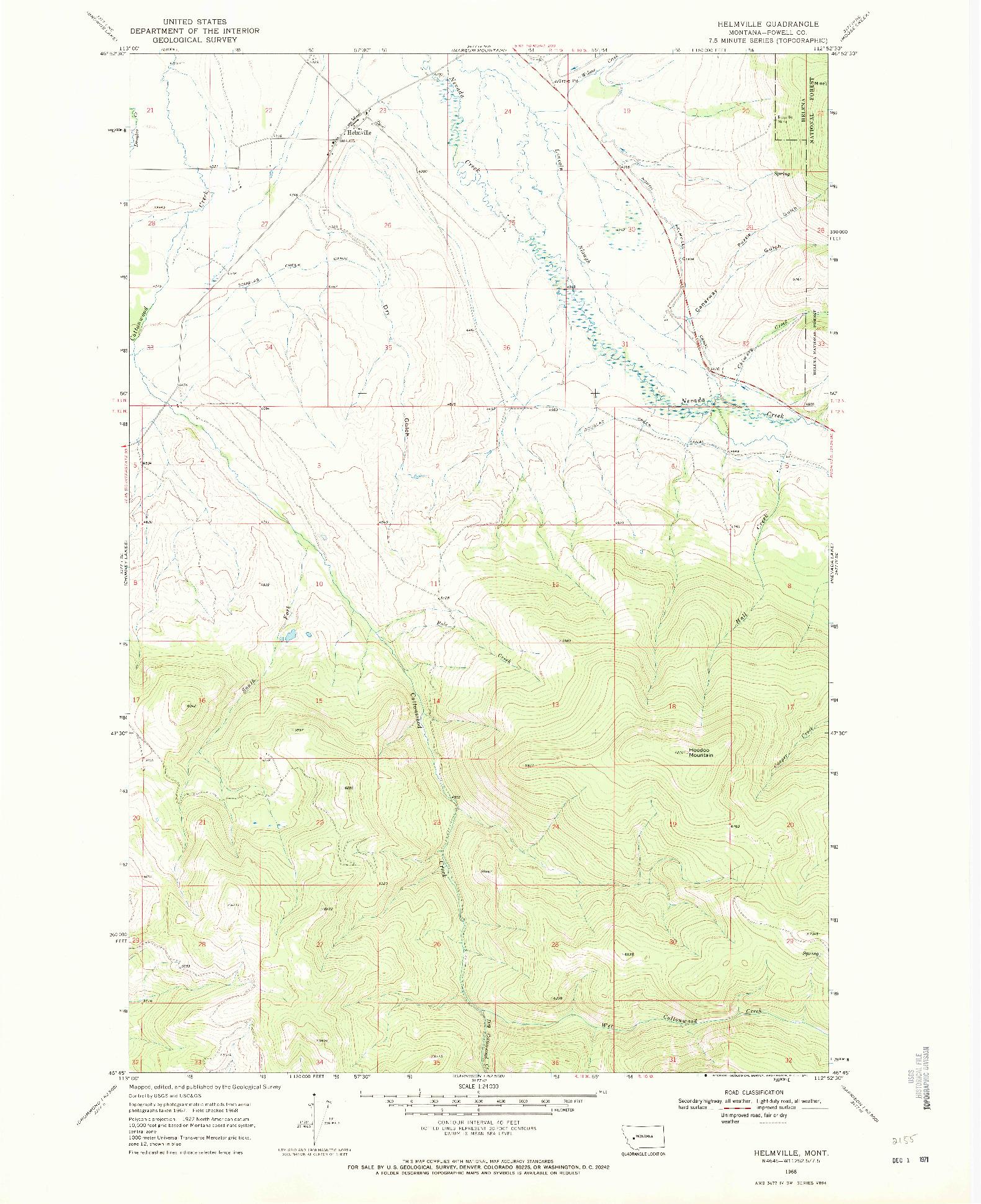 USGS 1:24000-SCALE QUADRANGLE FOR HELMVILLE, MT 1968