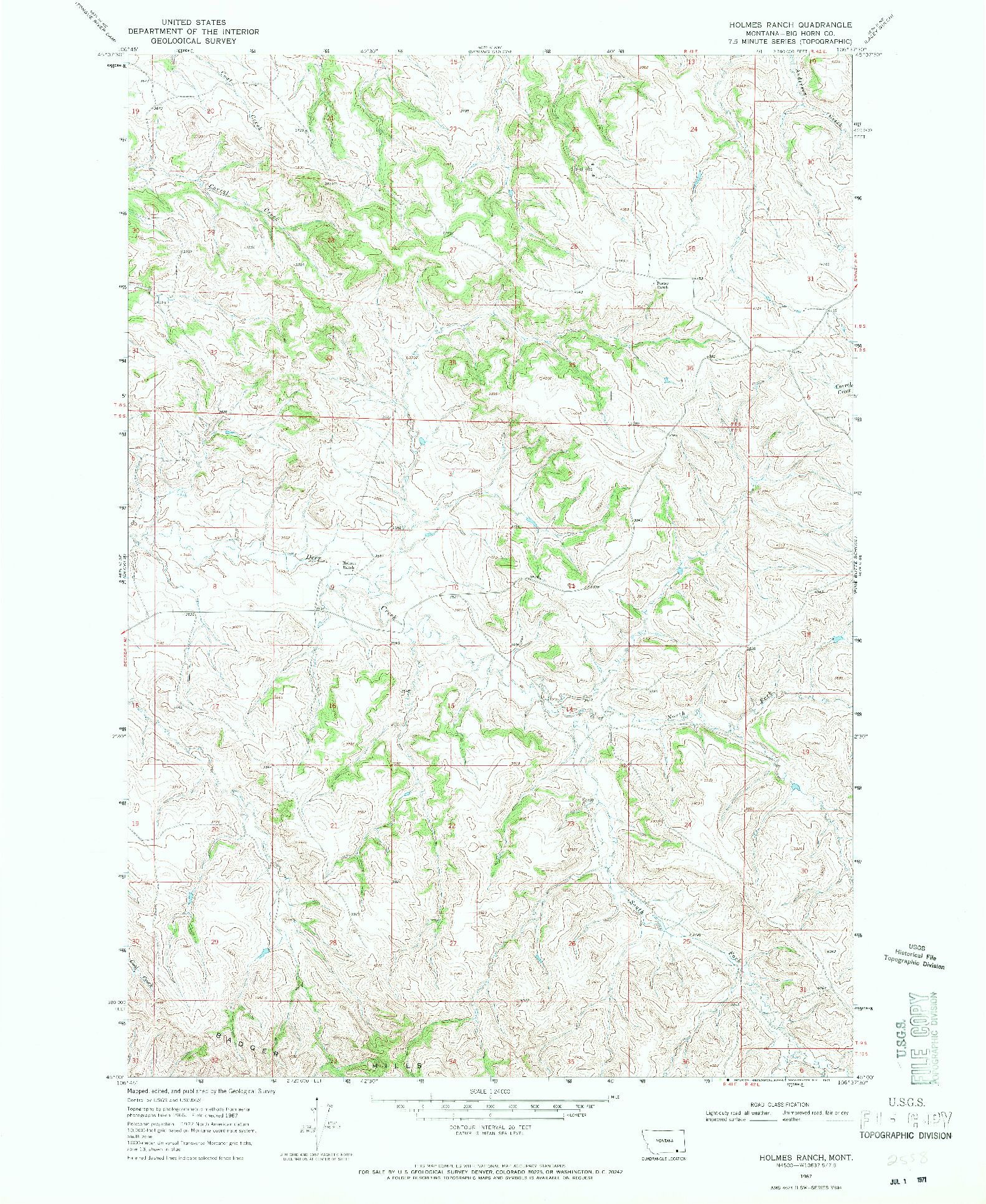 USGS 1:24000-SCALE QUADRANGLE FOR HOLMES RANCH, MT 1967
