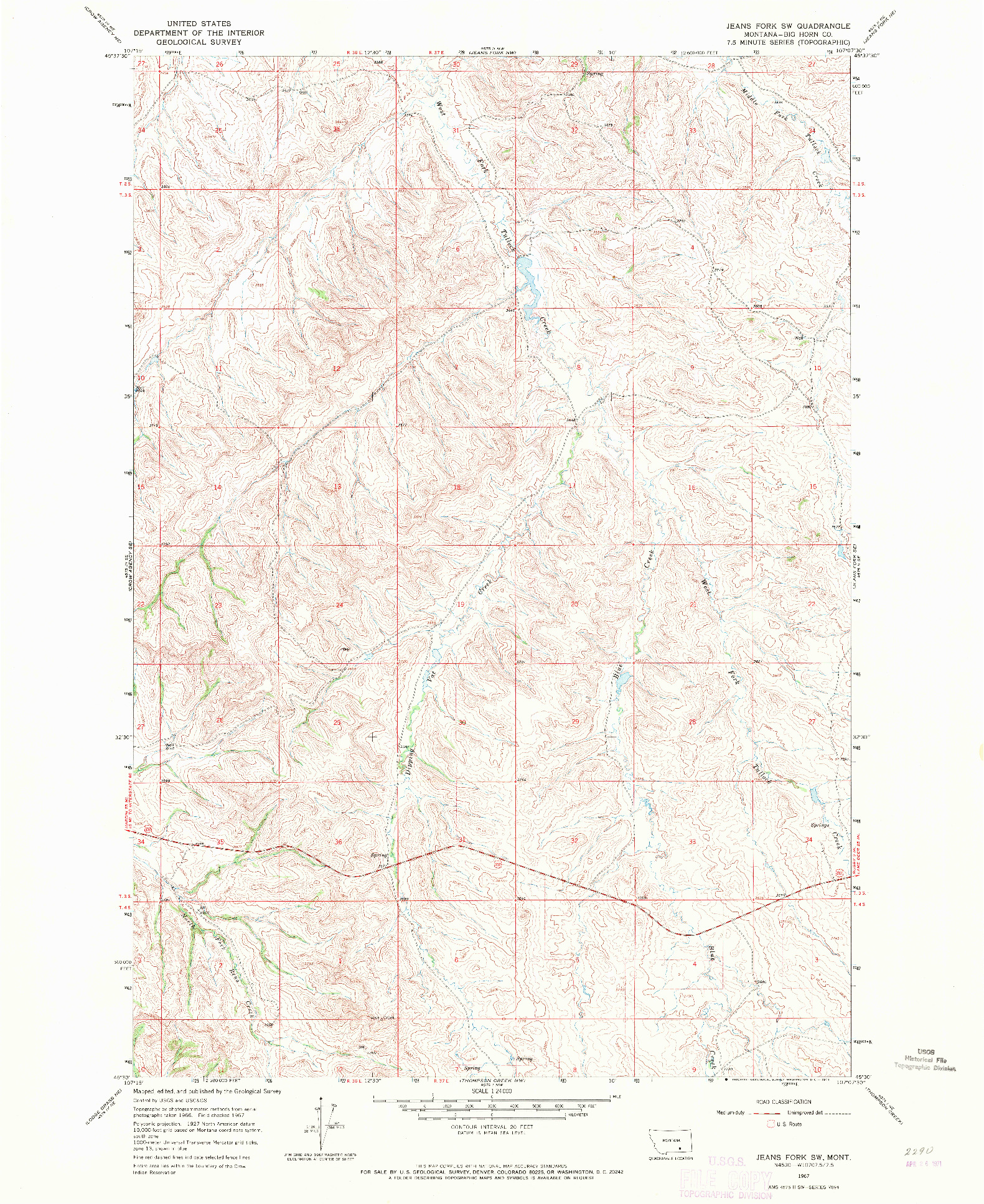 USGS 1:24000-SCALE QUADRANGLE FOR JEANS FORK SW, MT 1967