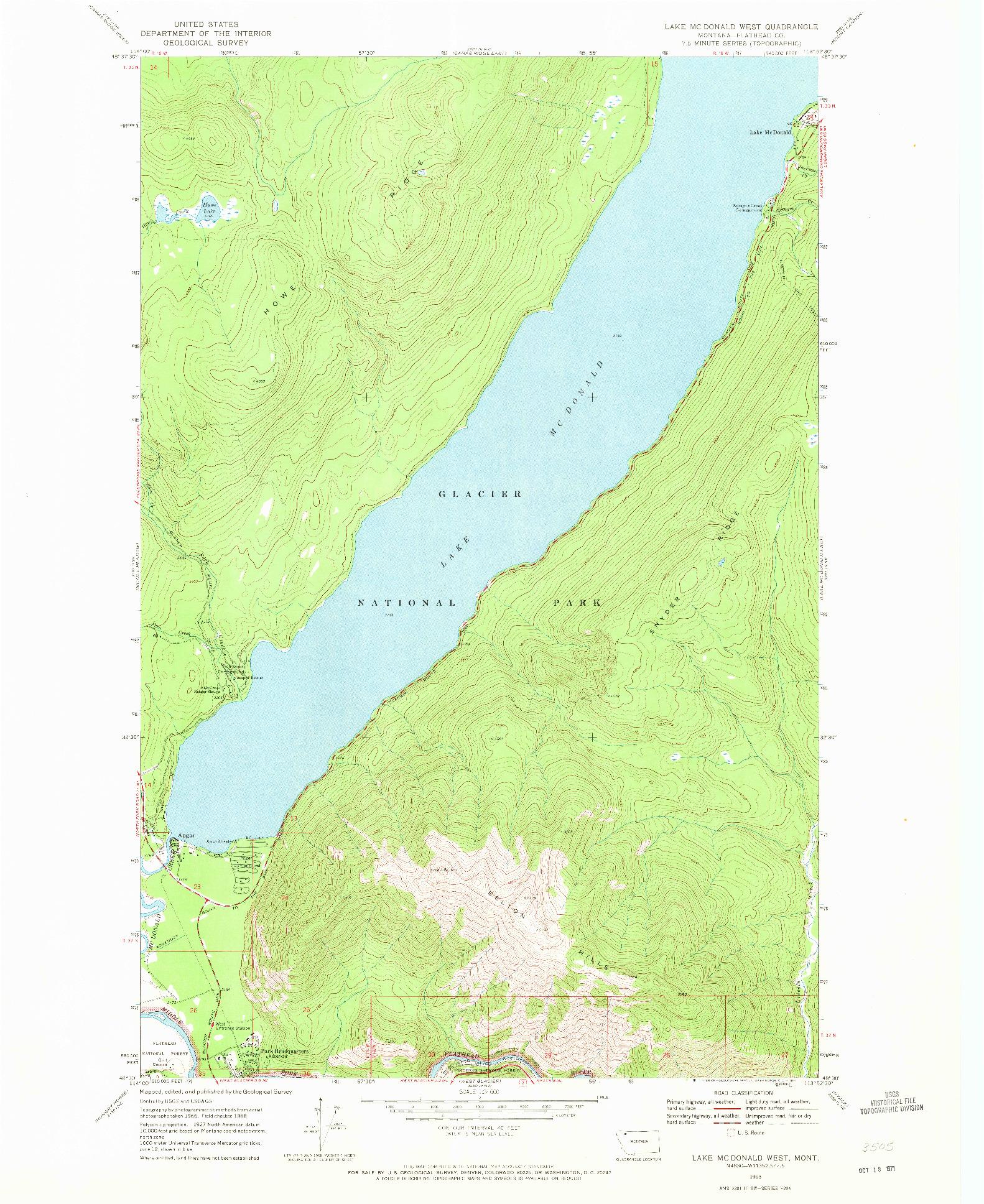 USGS 1:24000-SCALE QUADRANGLE FOR LAKE MC DONALD WEST, MT 1968