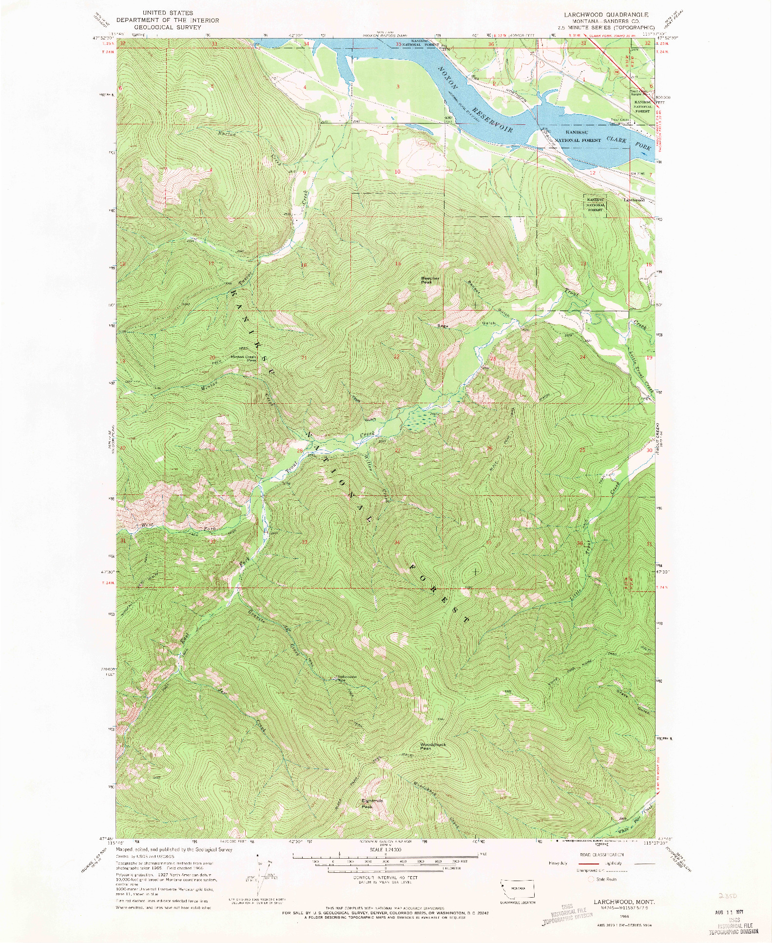 USGS 1:24000-SCALE QUADRANGLE FOR LARCHWOOD, MT 1966