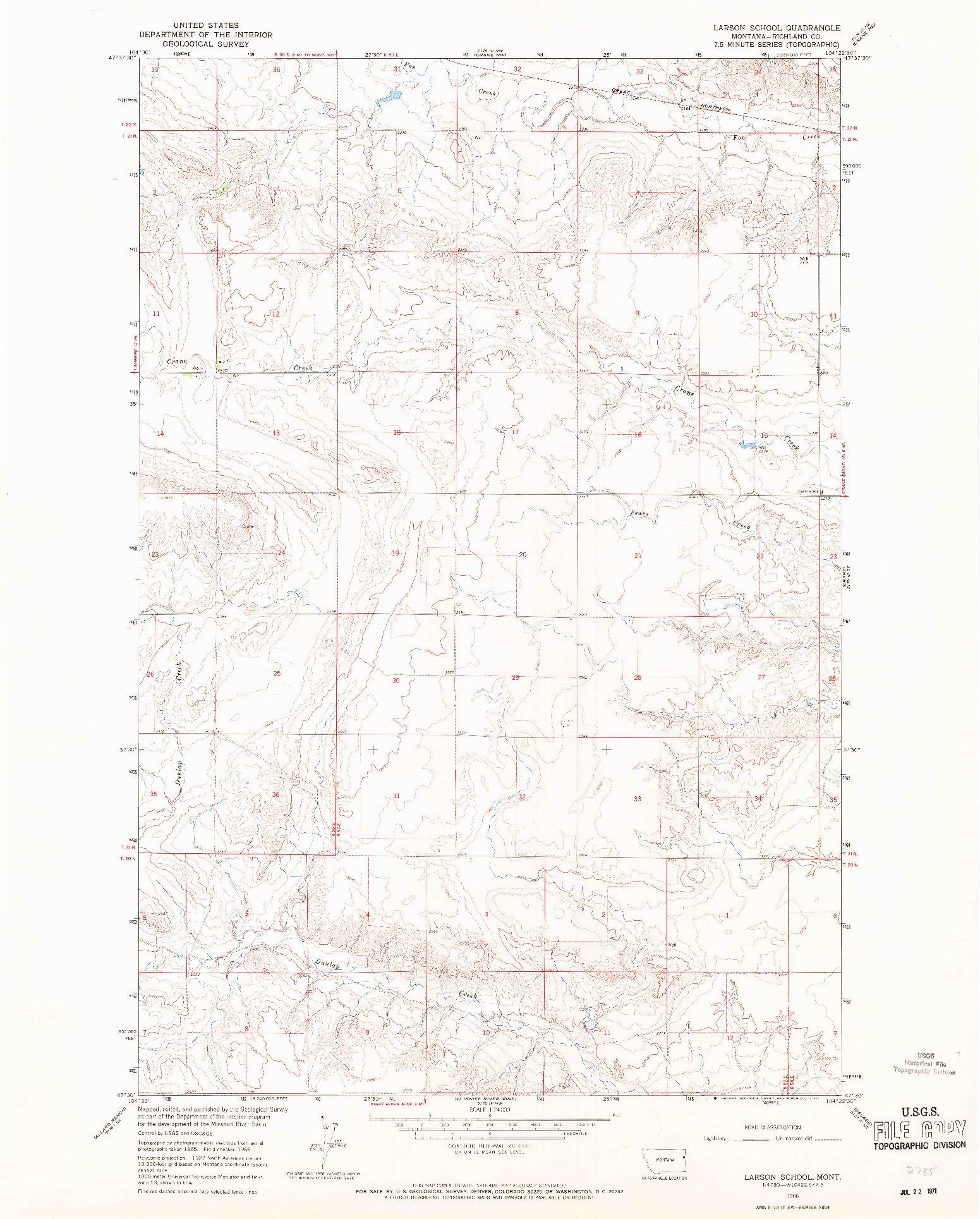 USGS 1:24000-SCALE QUADRANGLE FOR LARSON SCHOOL, MT 1966