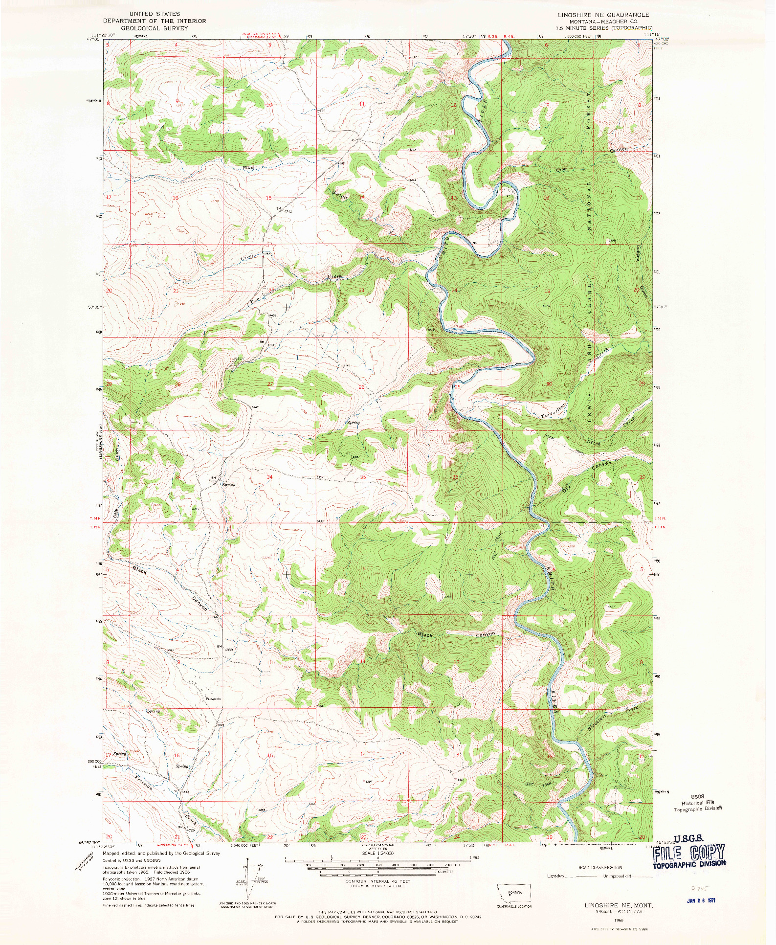 USGS 1:24000-SCALE QUADRANGLE FOR LINGSHIRE NE, MT 1966