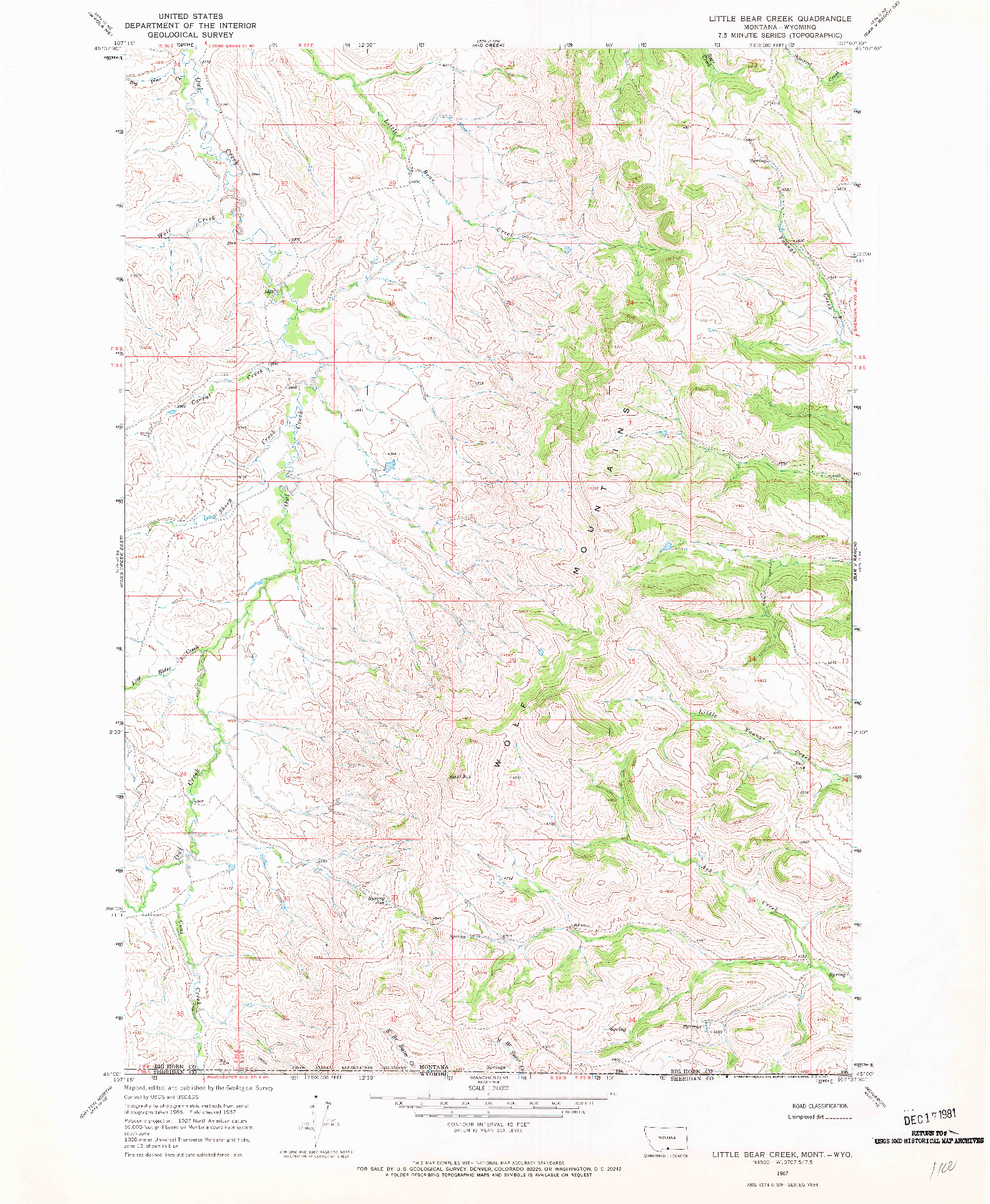 USGS 1:24000-SCALE QUADRANGLE FOR LITTLE BEAR CREEK, MT 1967
