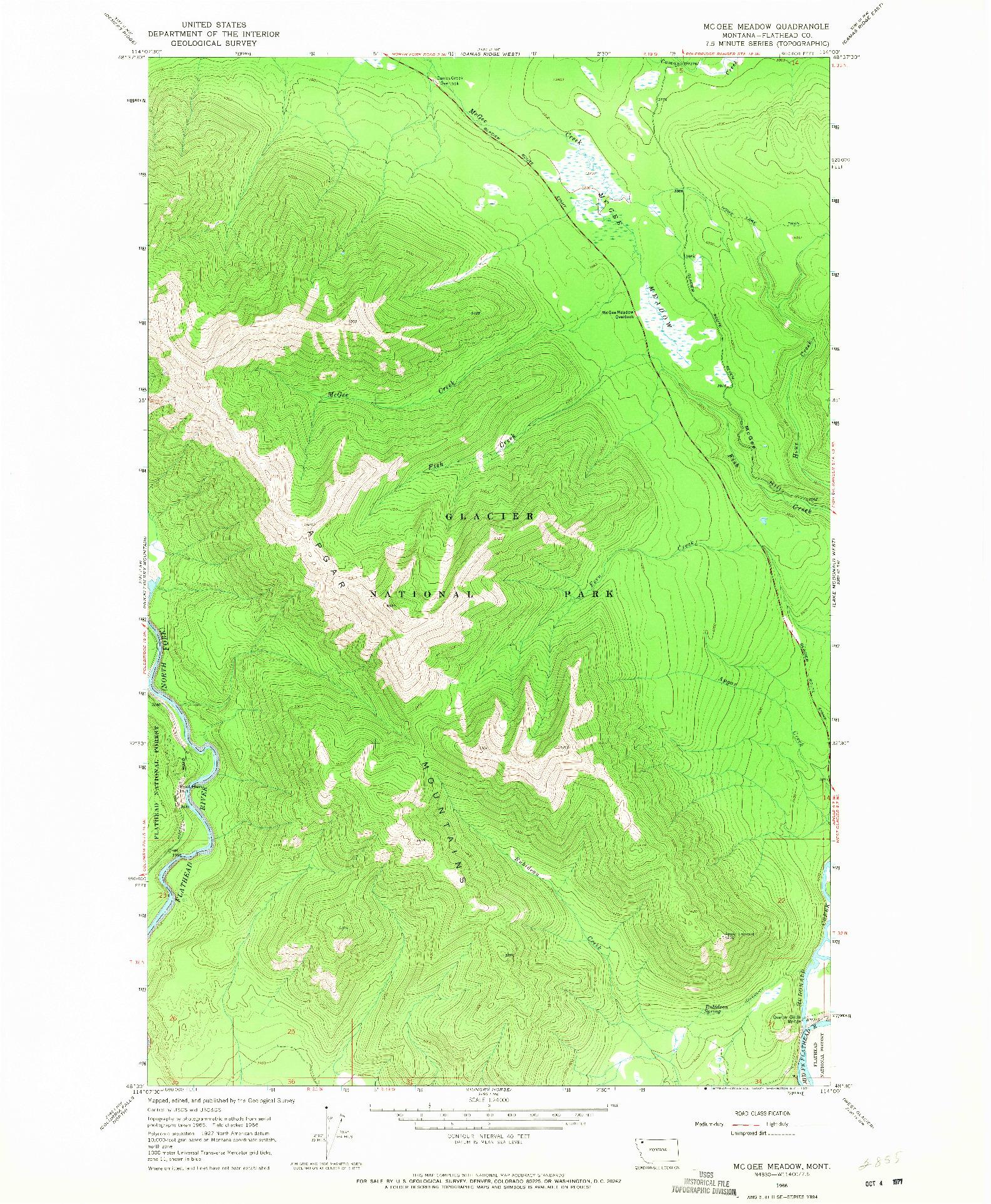 USGS 1:24000-SCALE QUADRANGLE FOR MC GEE MEADOW, MT 1966