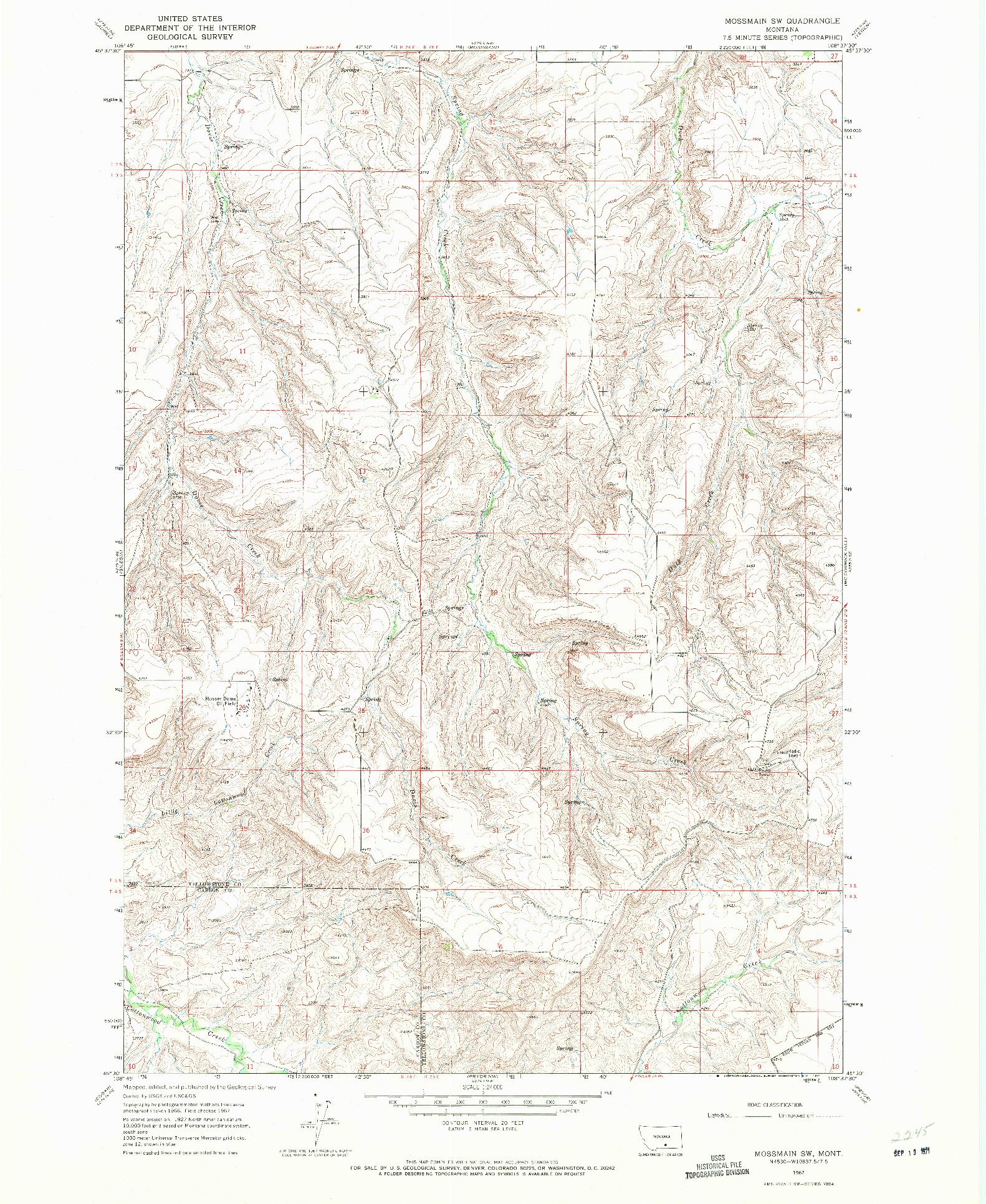 USGS 1:24000-SCALE QUADRANGLE FOR MOSSMAIN SW, MT 1967
