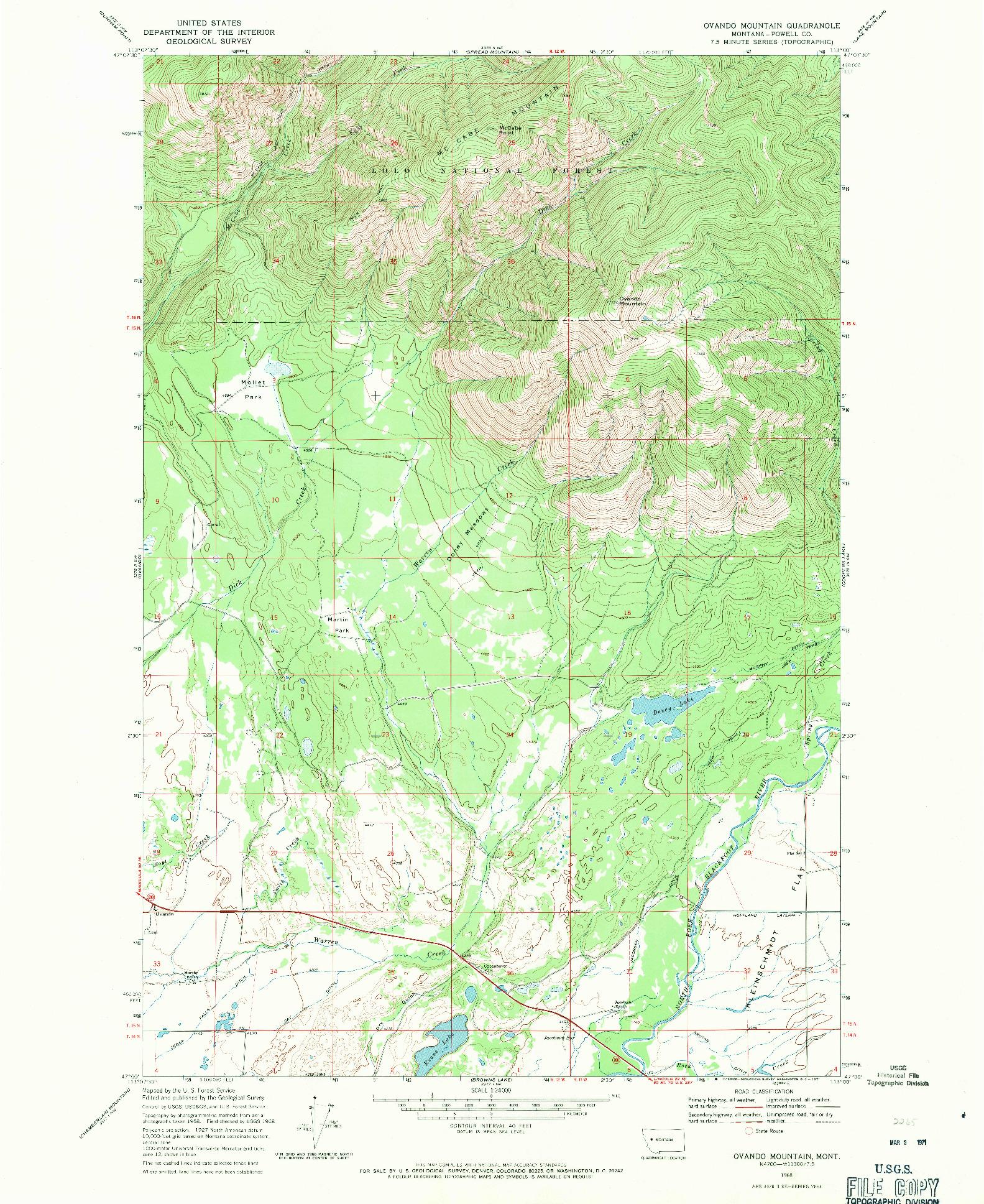 USGS 1:24000-SCALE QUADRANGLE FOR OVANDO MOUNTAIN, MT 1968