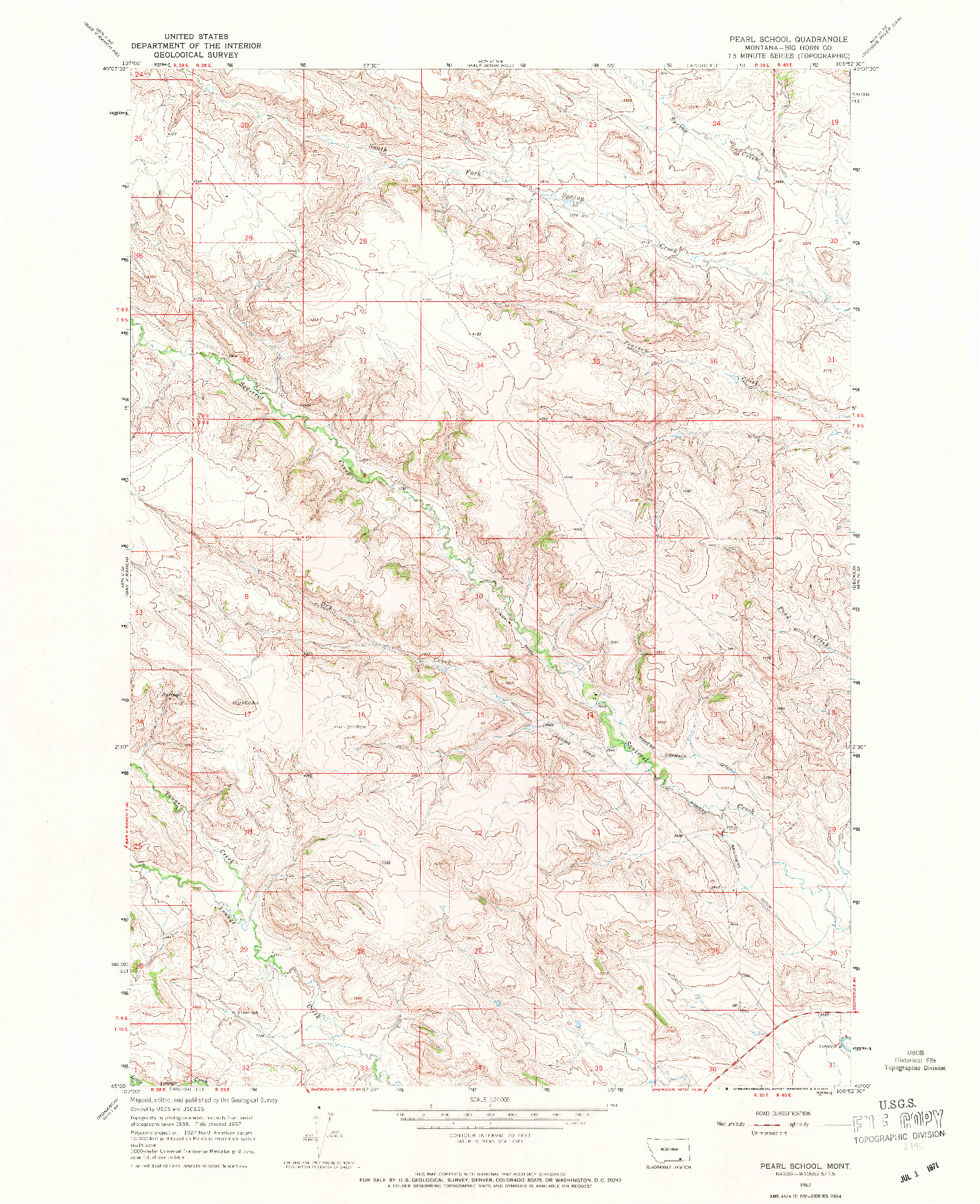USGS 1:24000-SCALE QUADRANGLE FOR PEARL SCHOOL, MT 1967