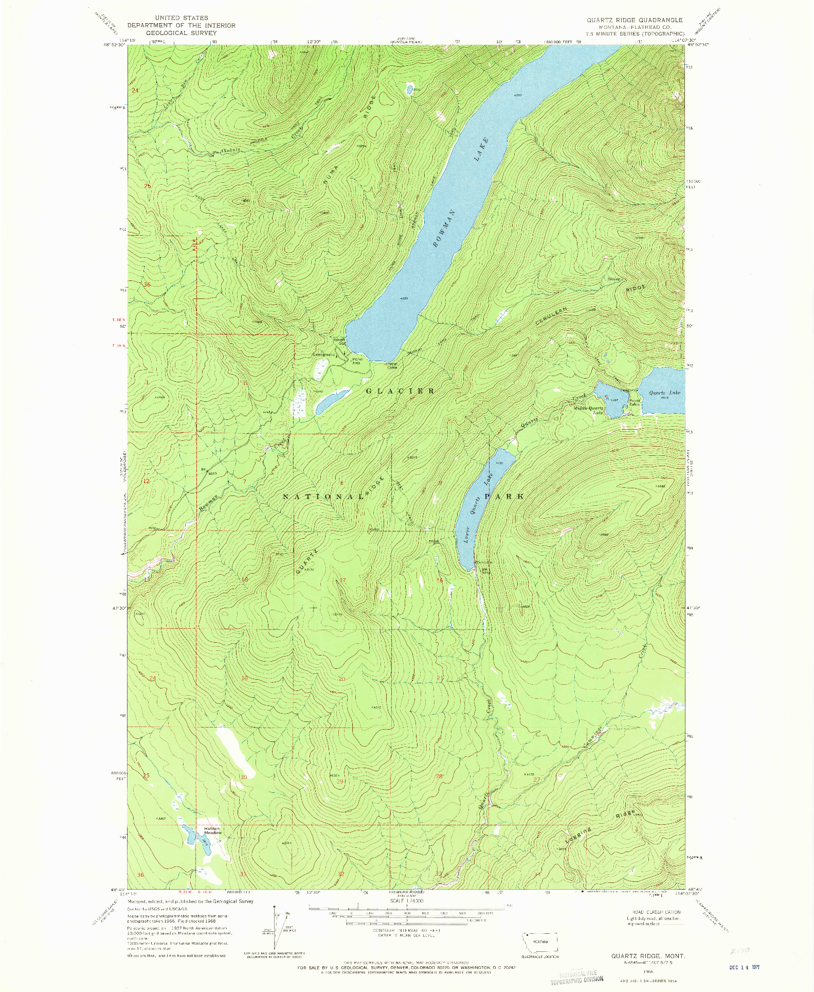 USGS 1:24000-SCALE QUADRANGLE FOR QUARTZ RIDGE, MT 1968
