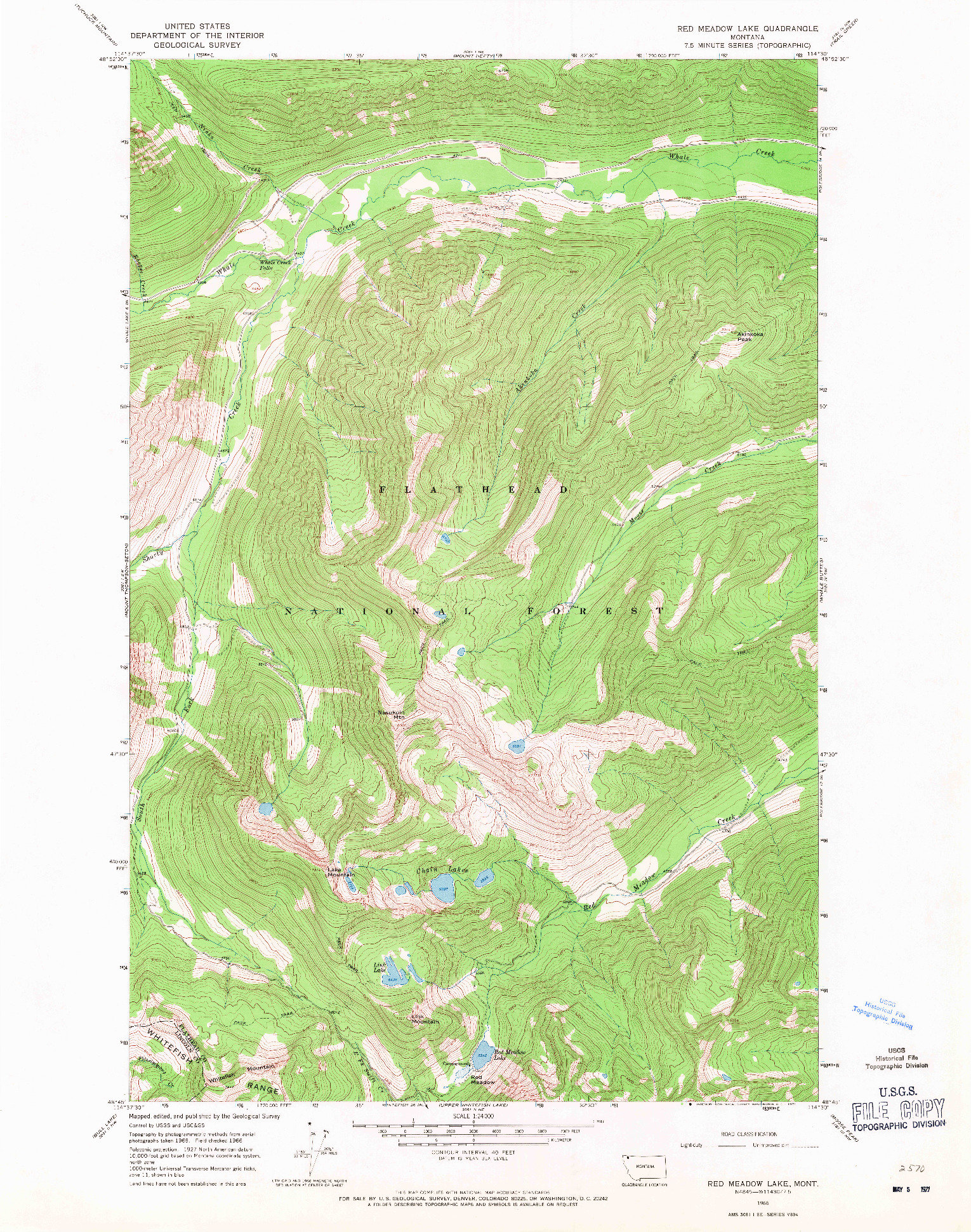 USGS 1:24000-SCALE QUADRANGLE FOR RED MEADOW LAKE, MT 1966