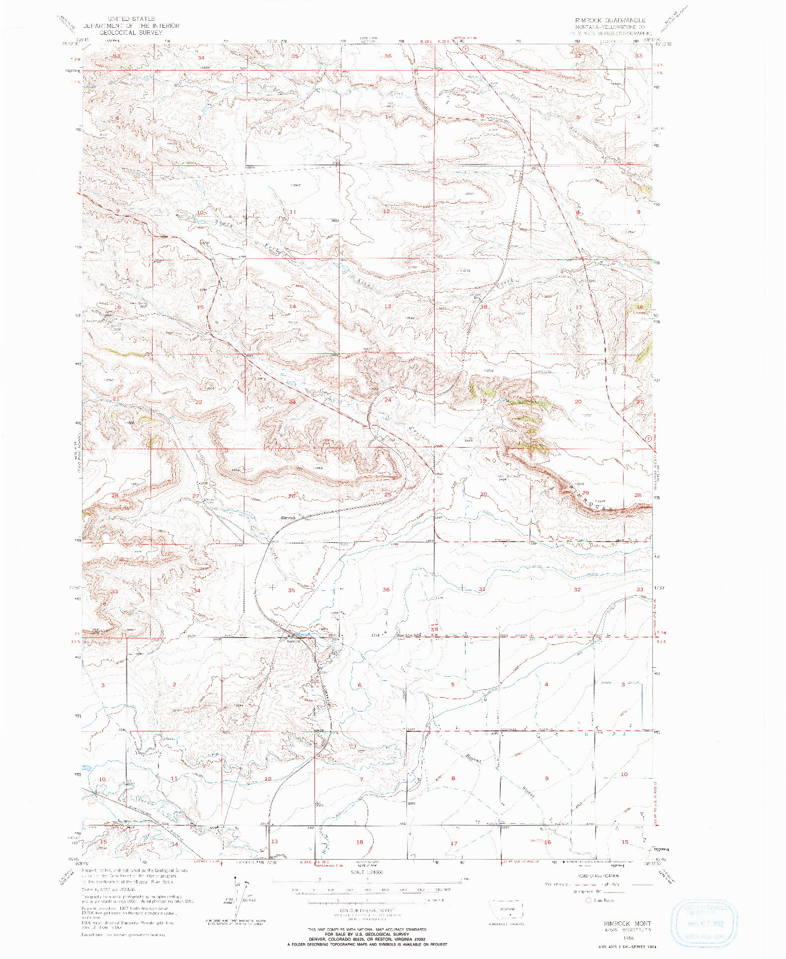 USGS 1:24000-SCALE QUADRANGLE FOR RIMROCK, MT 1956