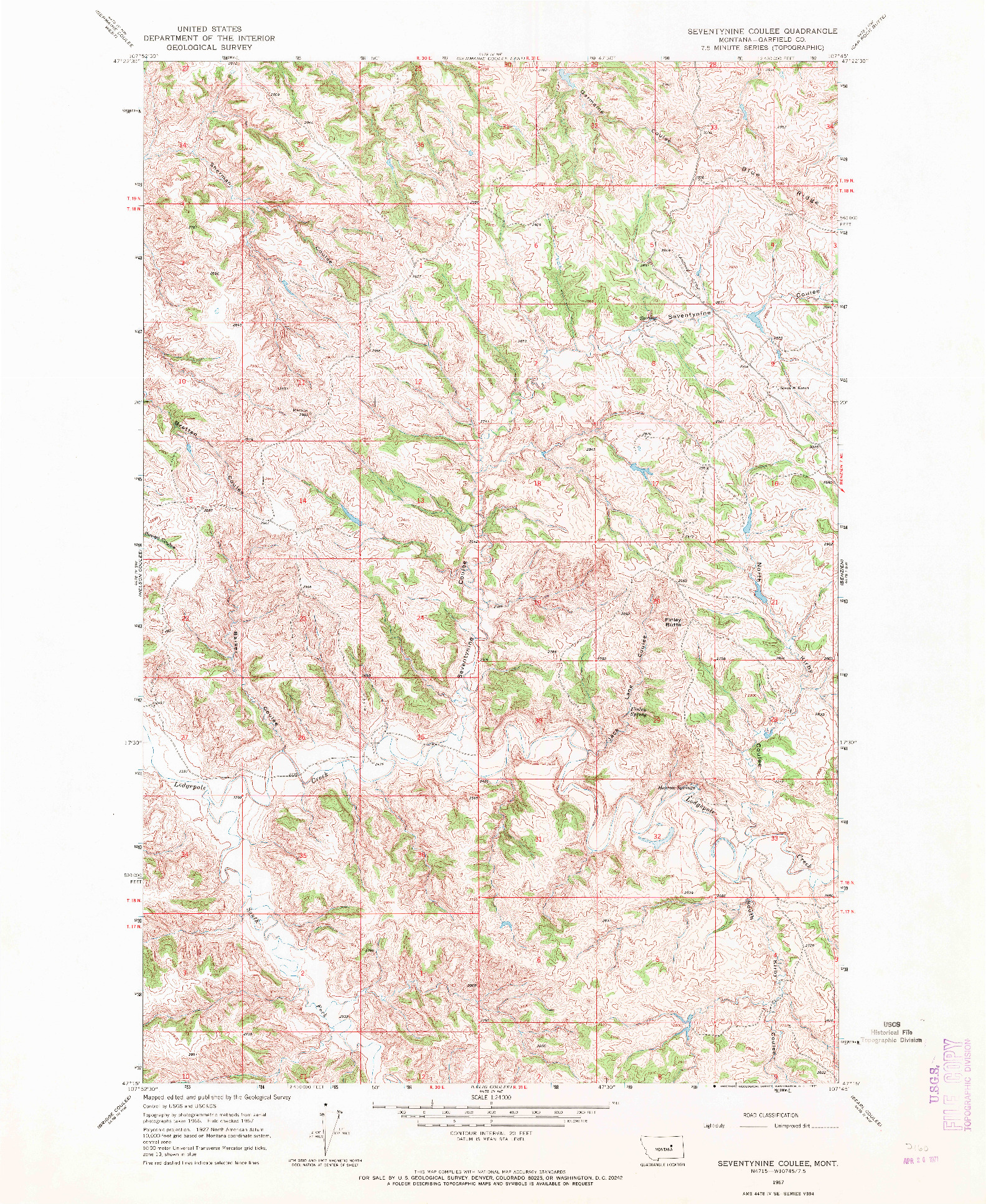 USGS 1:24000-SCALE QUADRANGLE FOR SEVENTYNINE COULEE, MT 1967