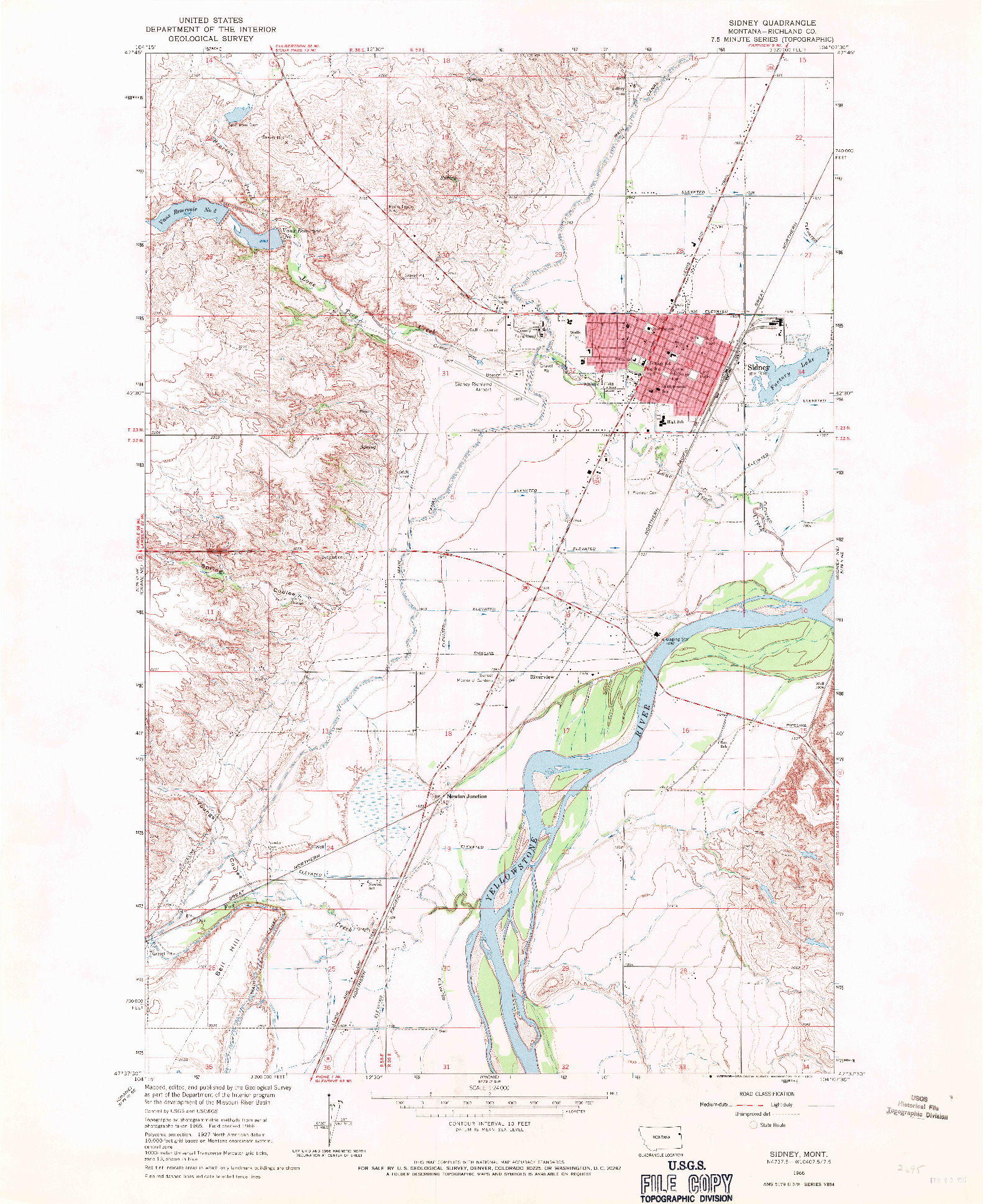USGS 1:24000-SCALE QUADRANGLE FOR SIDNEY, MT 1966