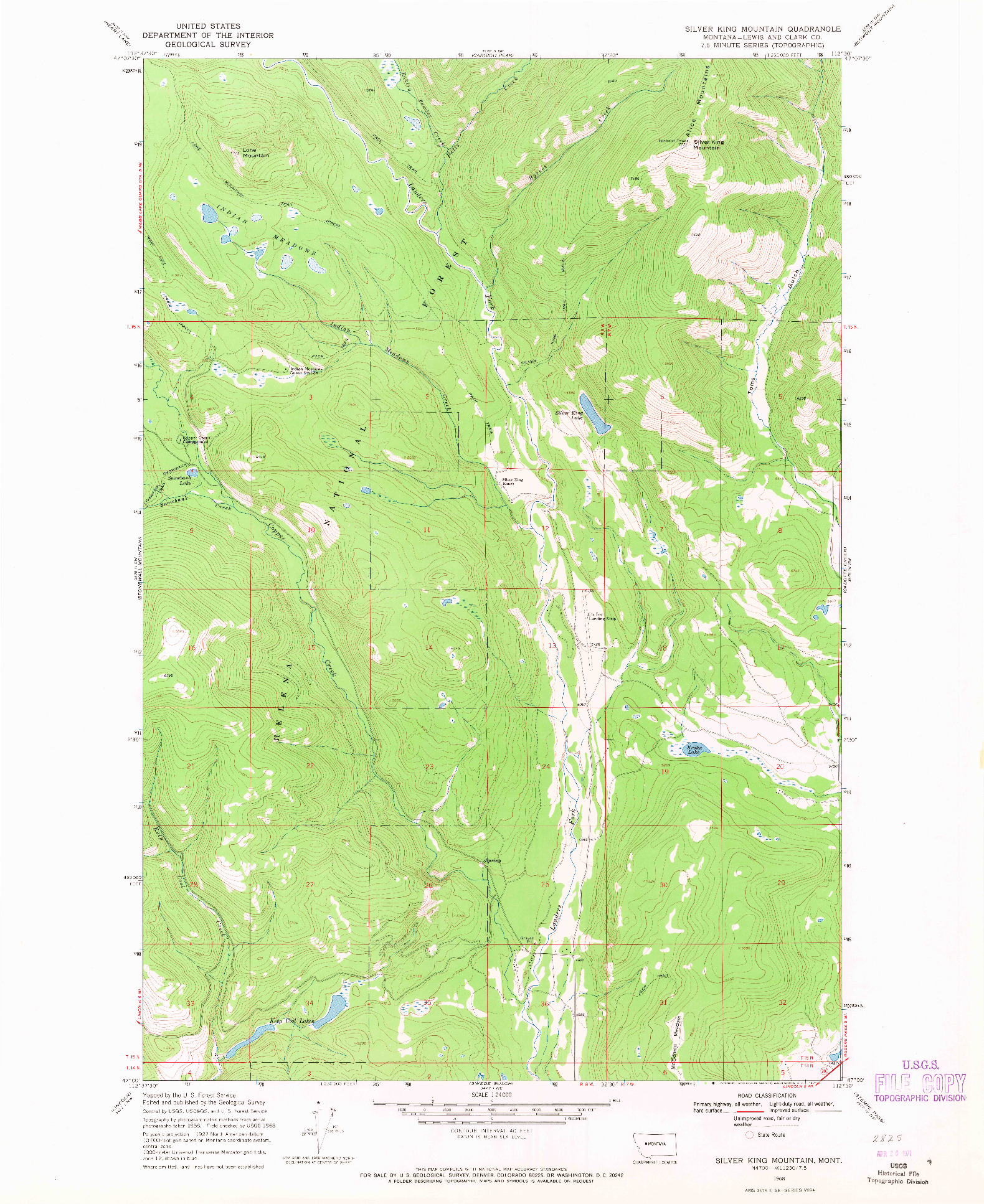 USGS 1:24000-SCALE QUADRANGLE FOR SILVER KING MOUNTAIN, MT 1968
