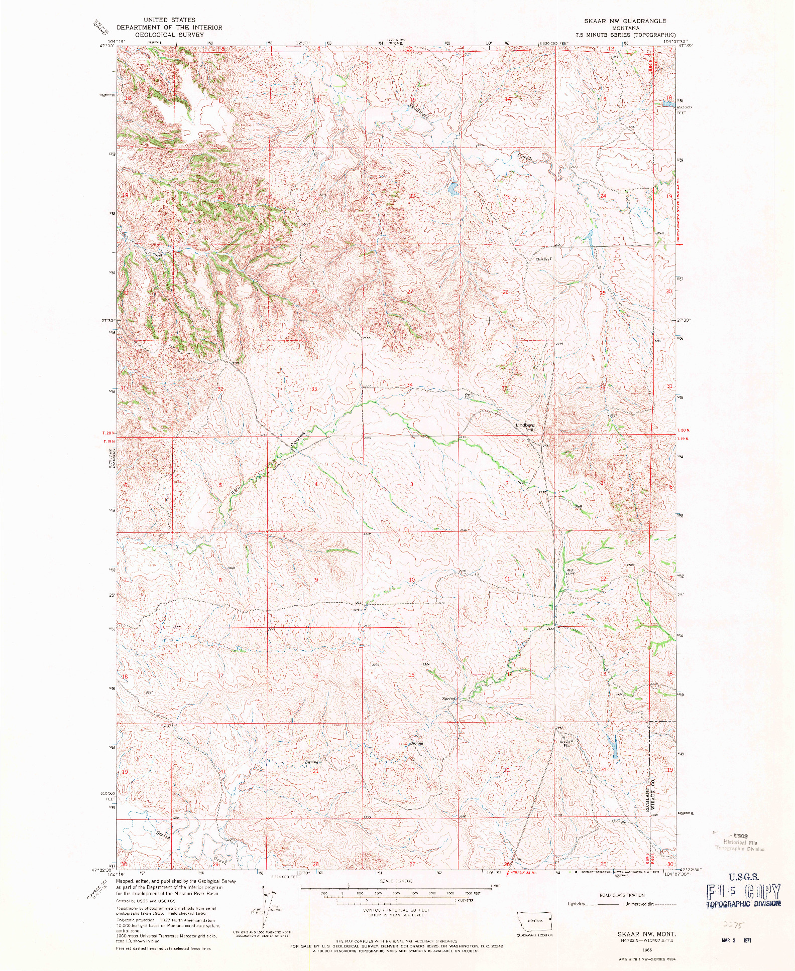 USGS 1:24000-SCALE QUADRANGLE FOR SKAAR NW, MT 1966