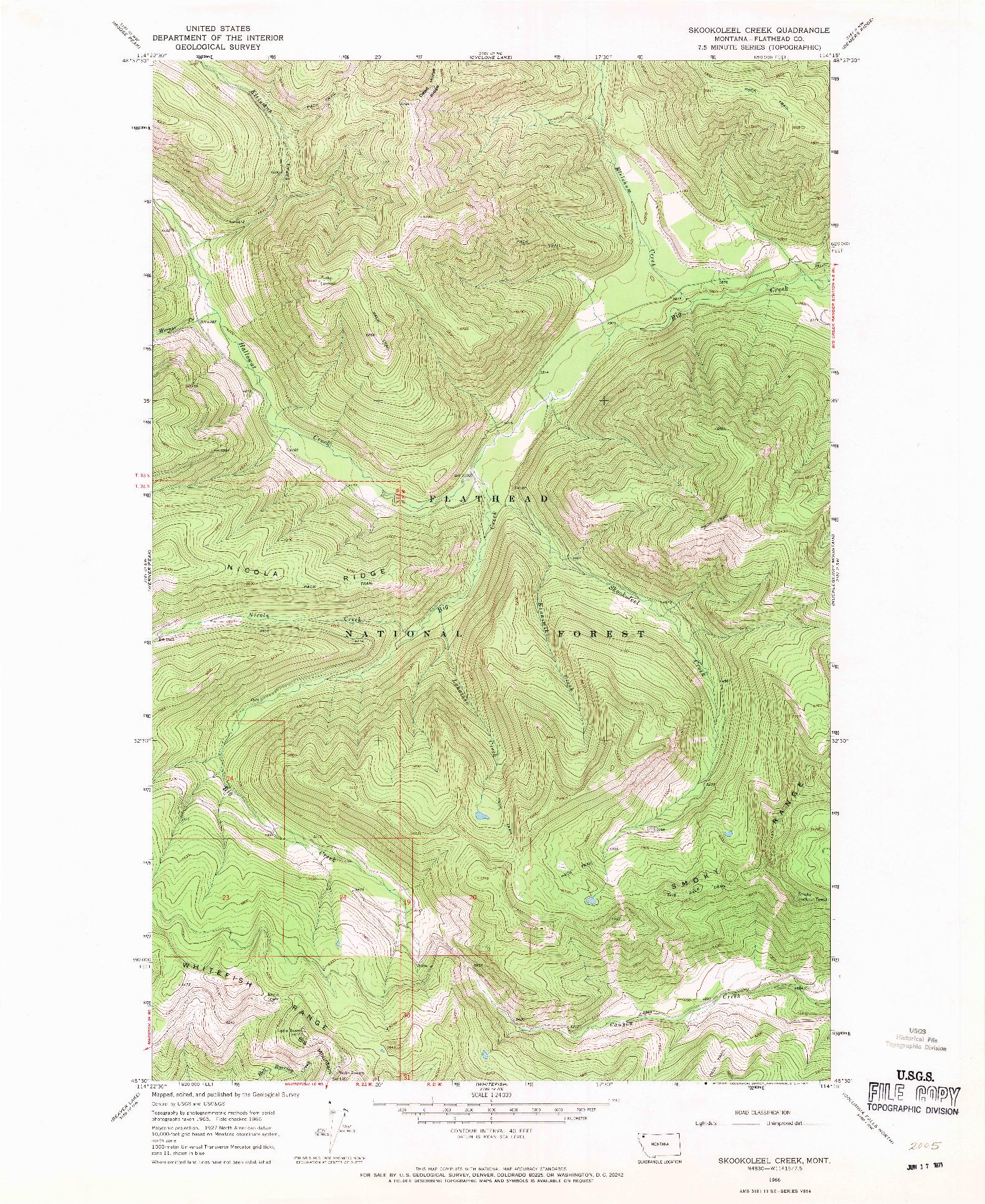 USGS 1:24000-SCALE QUADRANGLE FOR SKOOKOLEEL CREEK, MT 1966