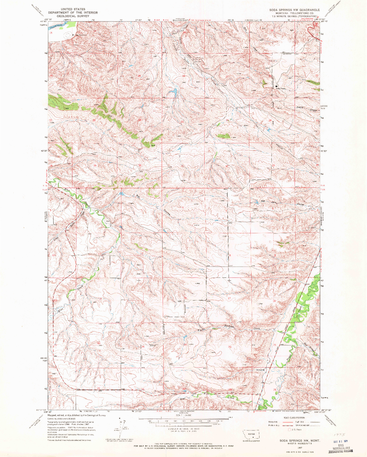 USGS 1:24000-SCALE QUADRANGLE FOR SODA SPRINGS NW, MT 1967