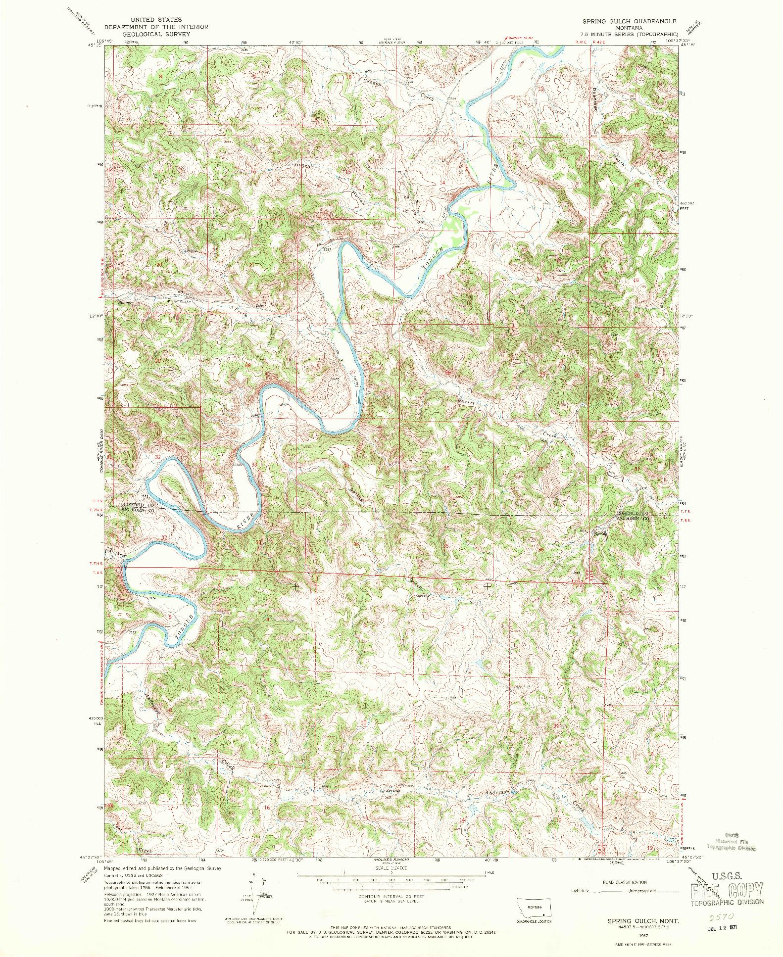 USGS 1:24000-SCALE QUADRANGLE FOR SPRING GULCH, MT 1967