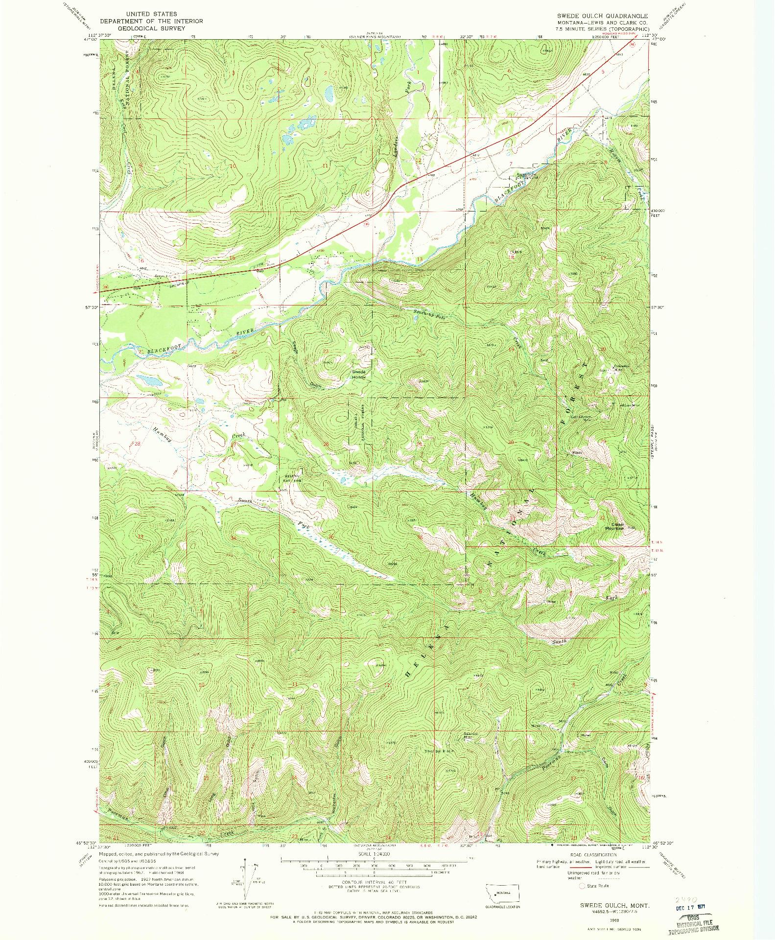 USGS 1:24000-SCALE QUADRANGLE FOR SWEDE GULCH, MT 1968