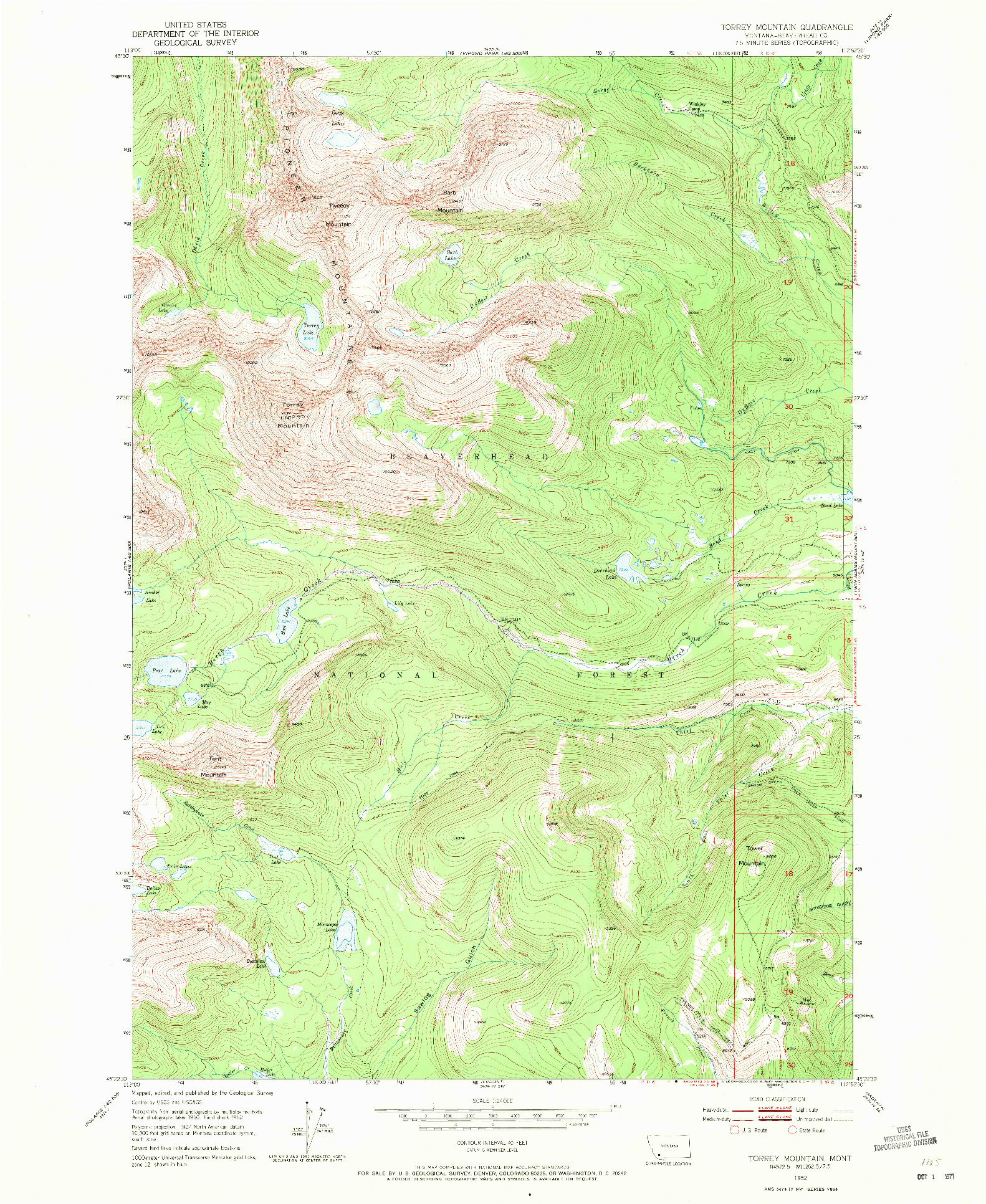 USGS 1:24000-SCALE QUADRANGLE FOR TORREY MOUNTAIN, MT 1952