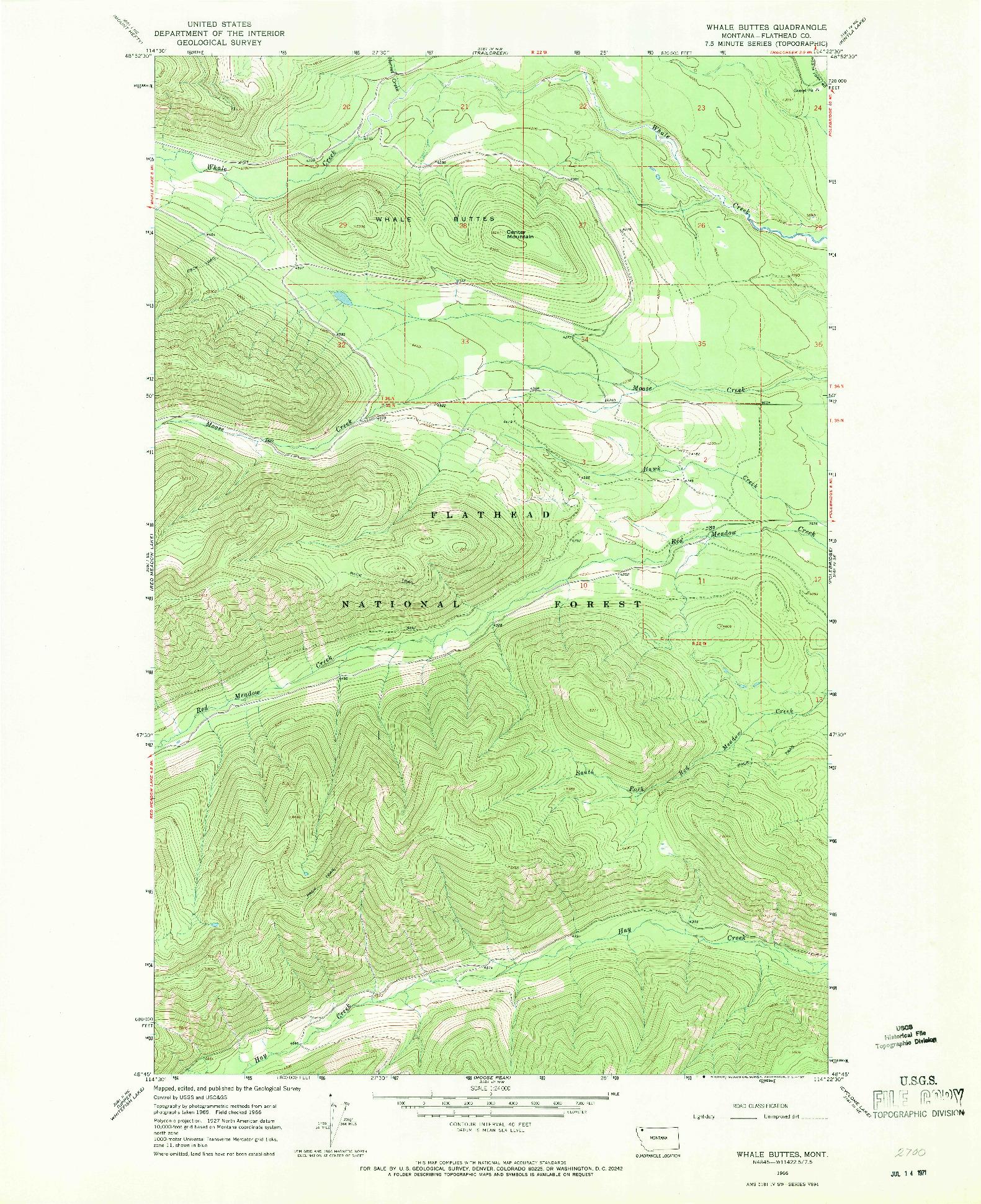 USGS 1:24000-SCALE QUADRANGLE FOR WHALE BUTTES, MT 1966