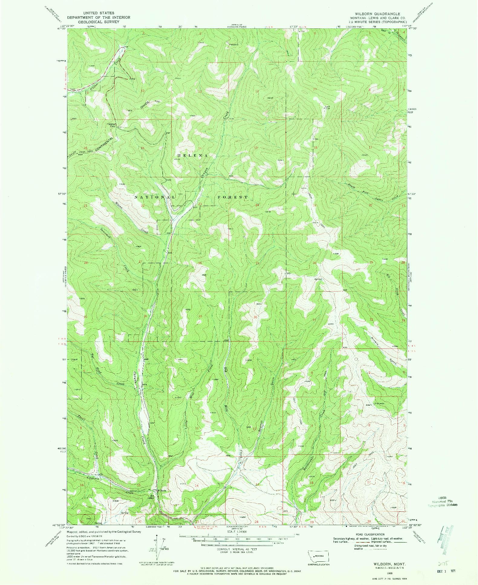 USGS 1:24000-SCALE QUADRANGLE FOR WILBORN, MT 1968