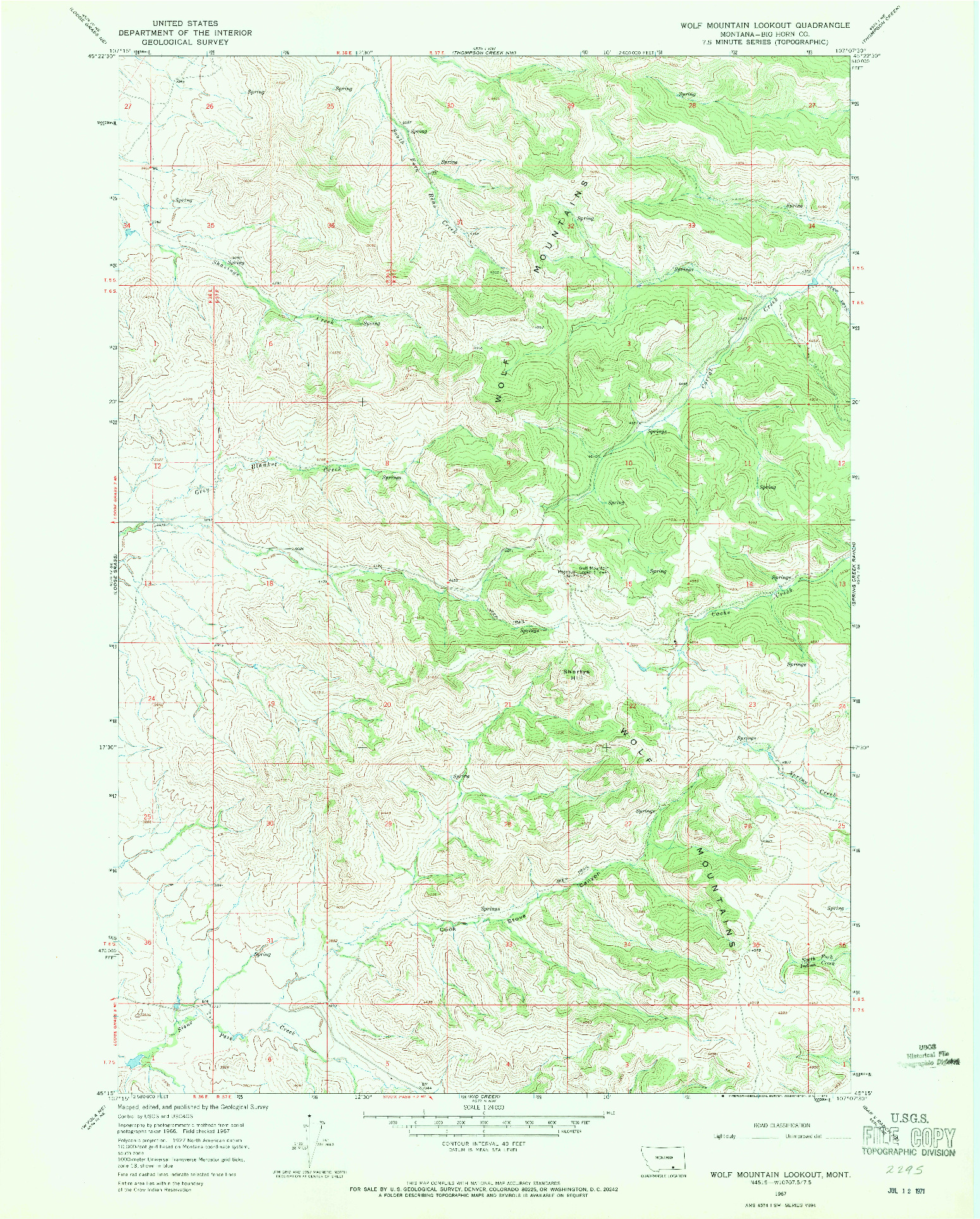 USGS 1:24000-SCALE QUADRANGLE FOR WOLF MOUNTAIN LOOKOUT, MT 1967