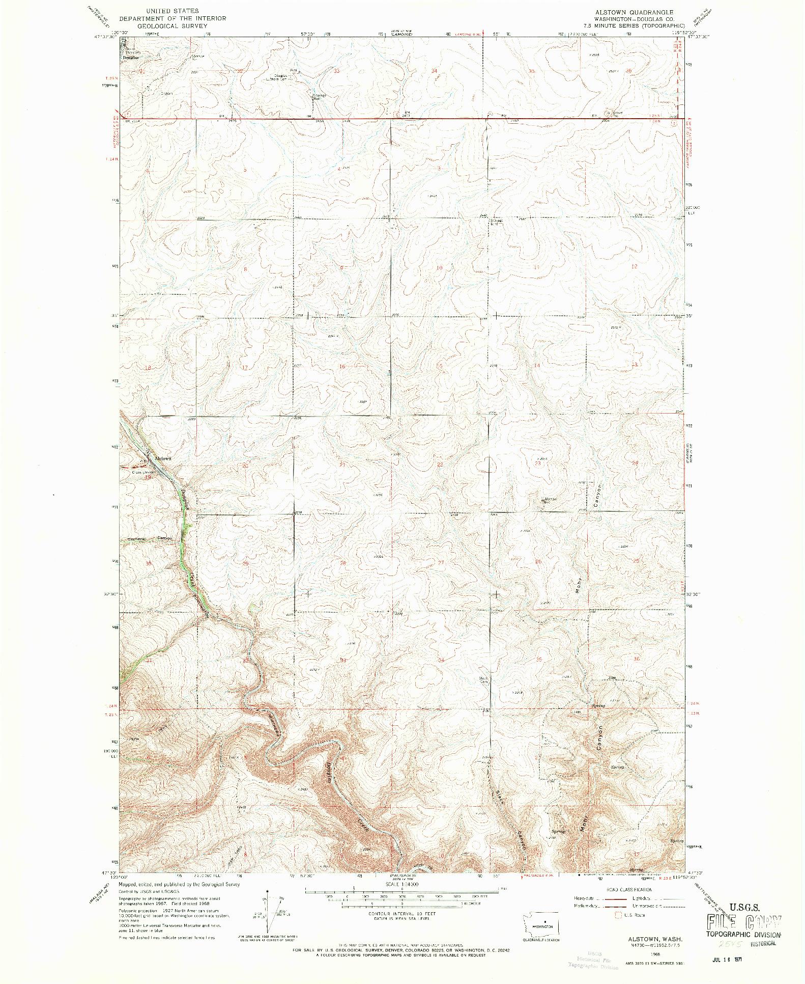 USGS 1:24000-SCALE QUADRANGLE FOR ALSTOWN, WA 1968