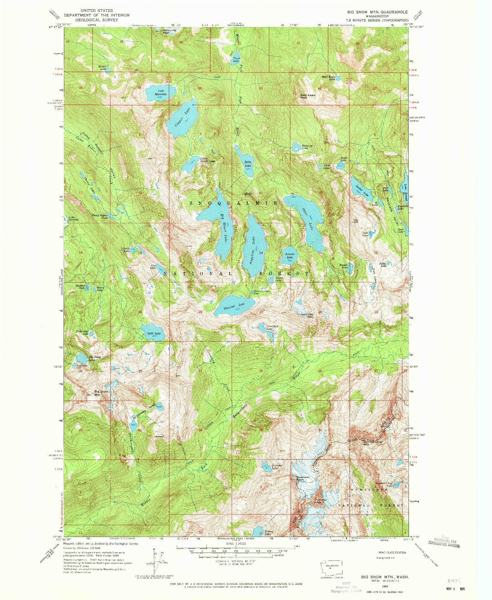 USGS 1:24000-SCALE QUADRANGLE FOR BIG SNOW MTN, WA 1965