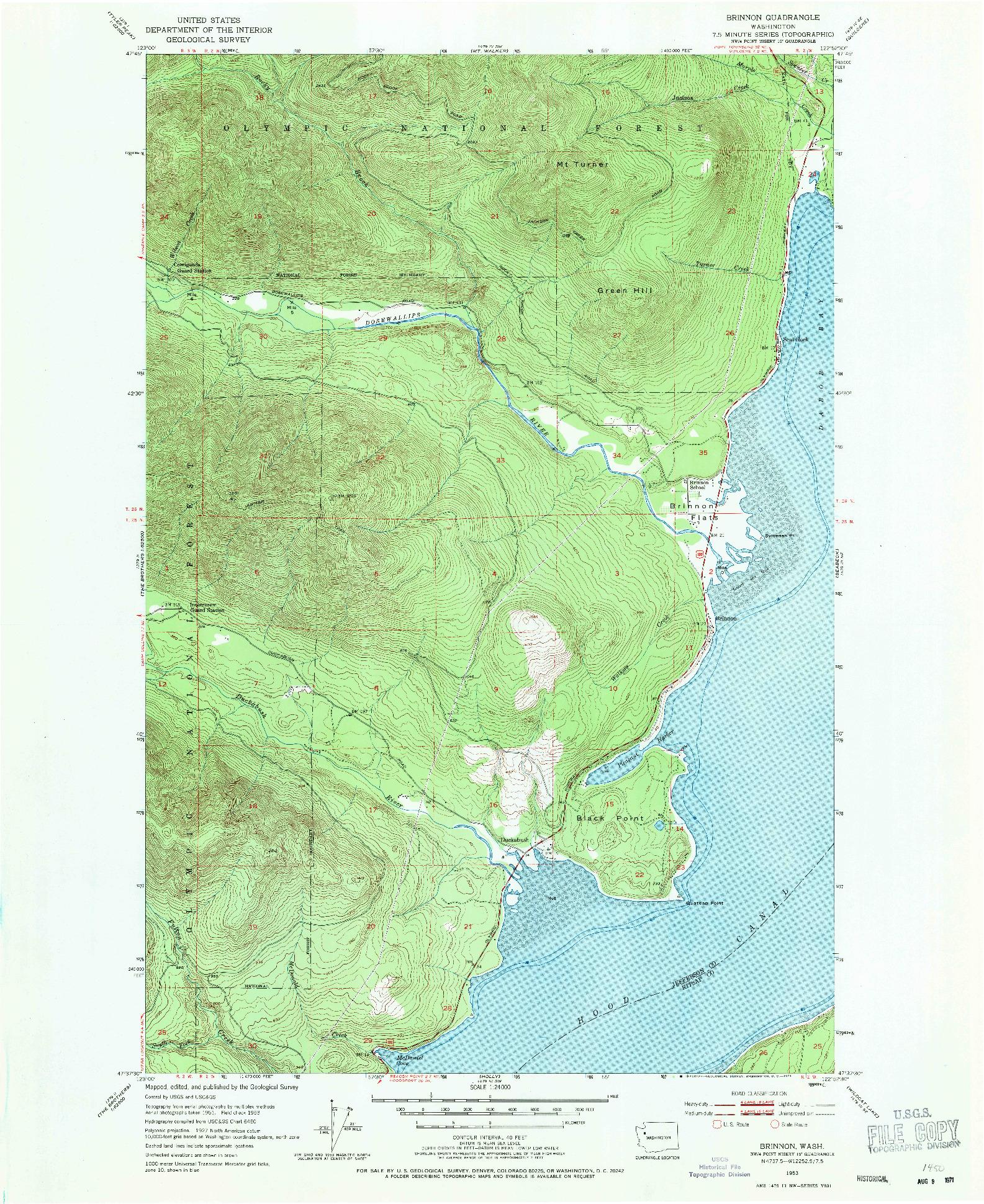 USGS 1:24000-SCALE QUADRANGLE FOR BRINNON, WA 1953