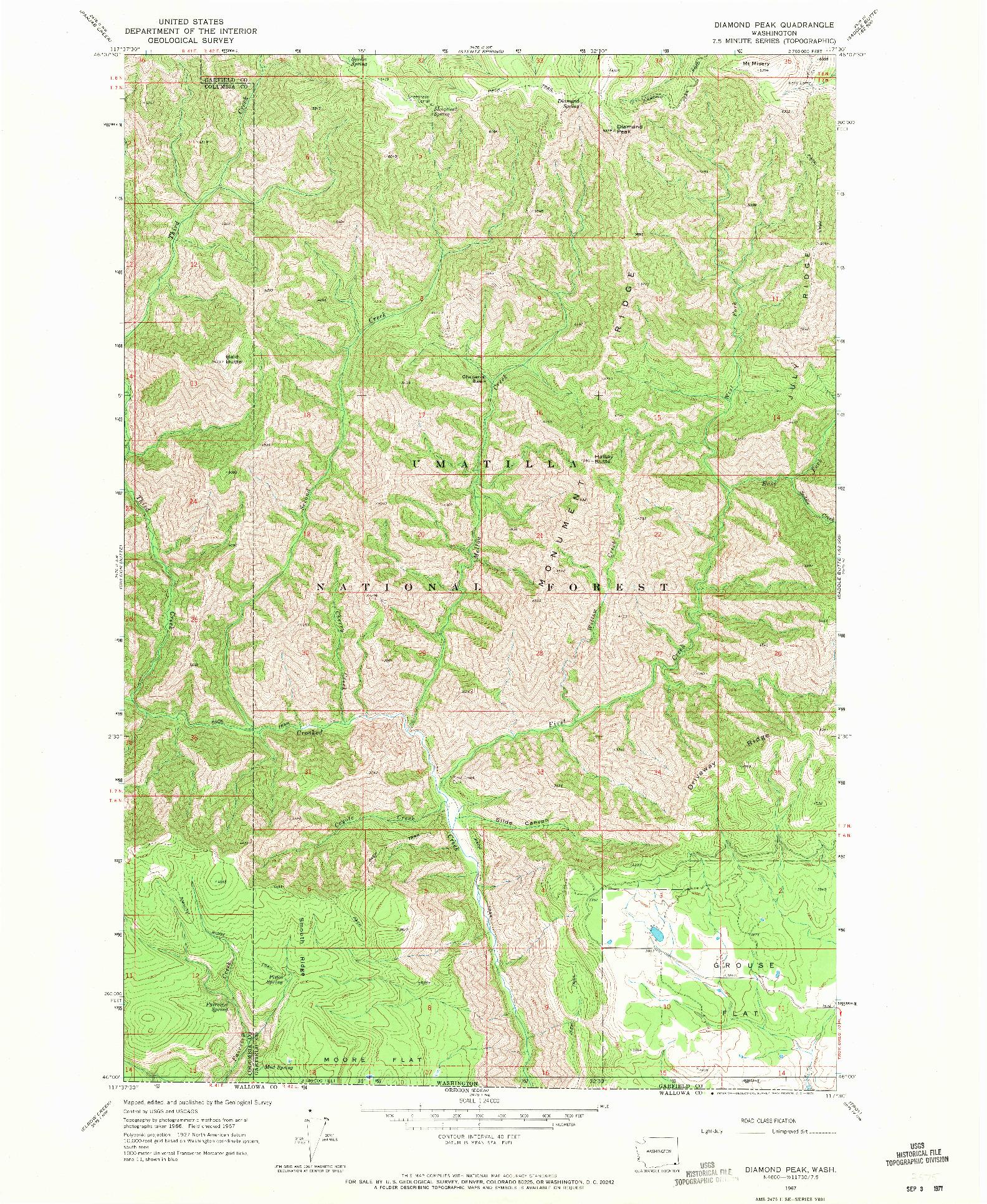 USGS 1:24000-SCALE QUADRANGLE FOR DIAMOND PEAK, WA 1967