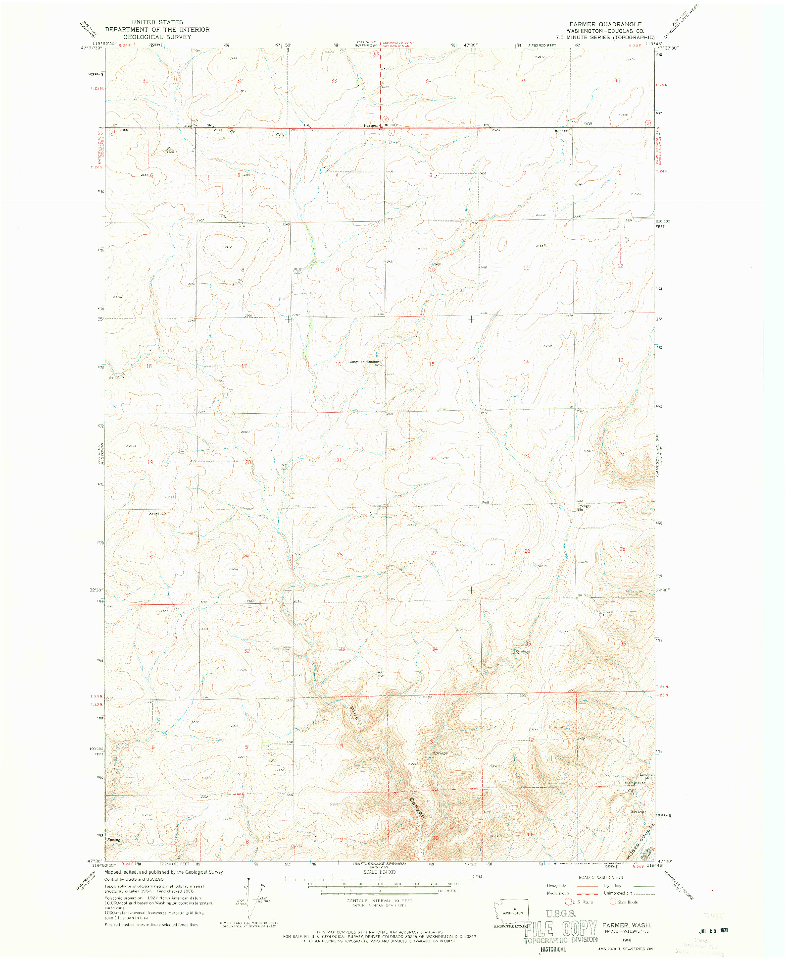 USGS 1:24000-SCALE QUADRANGLE FOR FARMER, WA 1968