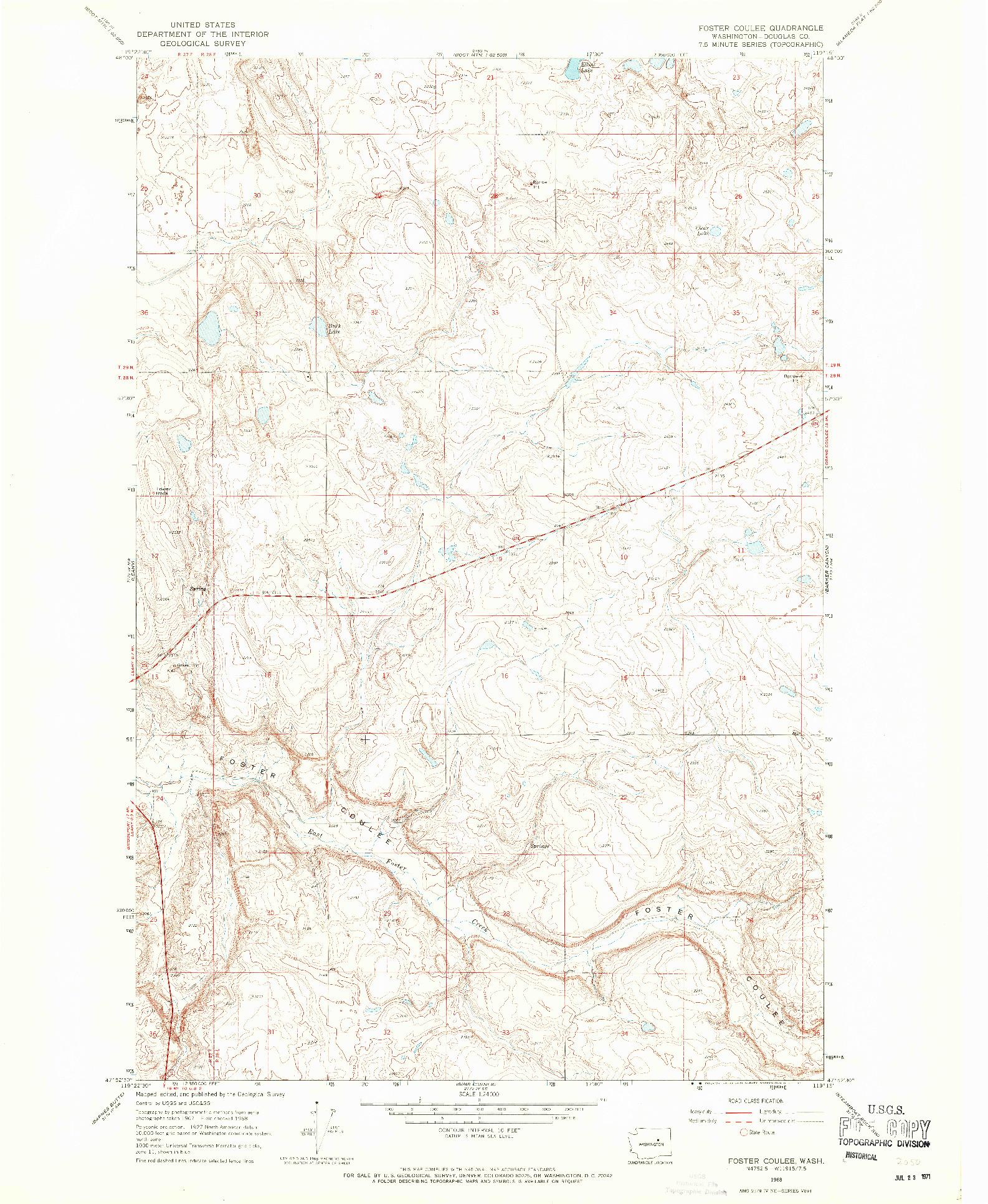 USGS 1:24000-SCALE QUADRANGLE FOR FOSTER COULEE, WA 1968