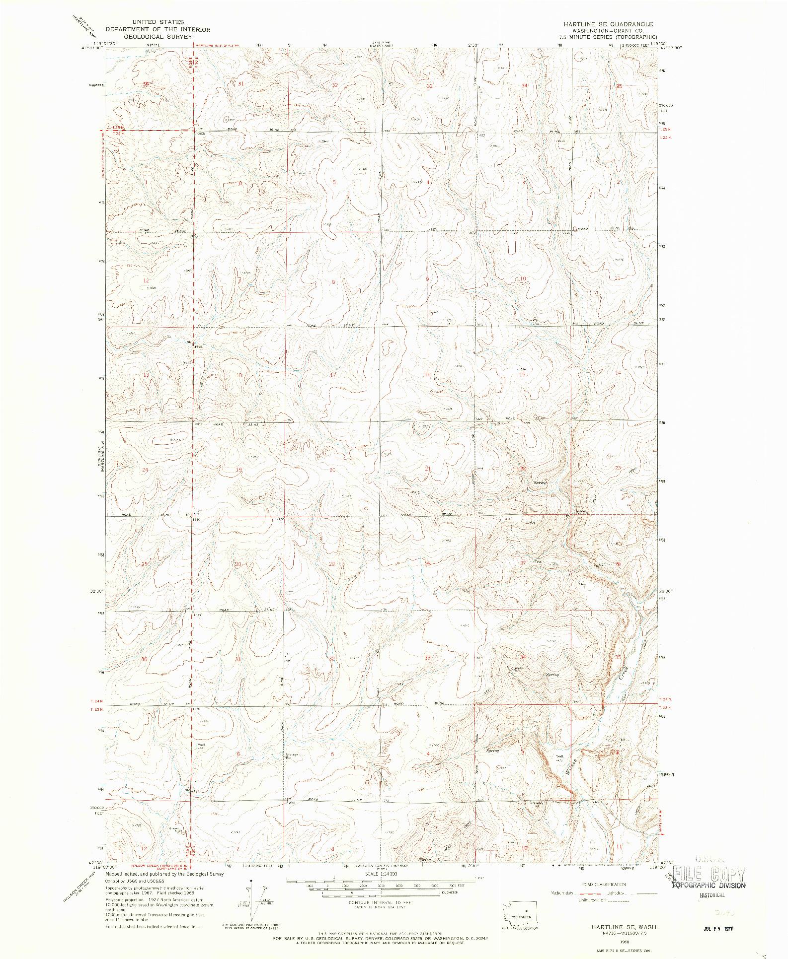 USGS 1:24000-SCALE QUADRANGLE FOR HARTLINE SE, WA 1968