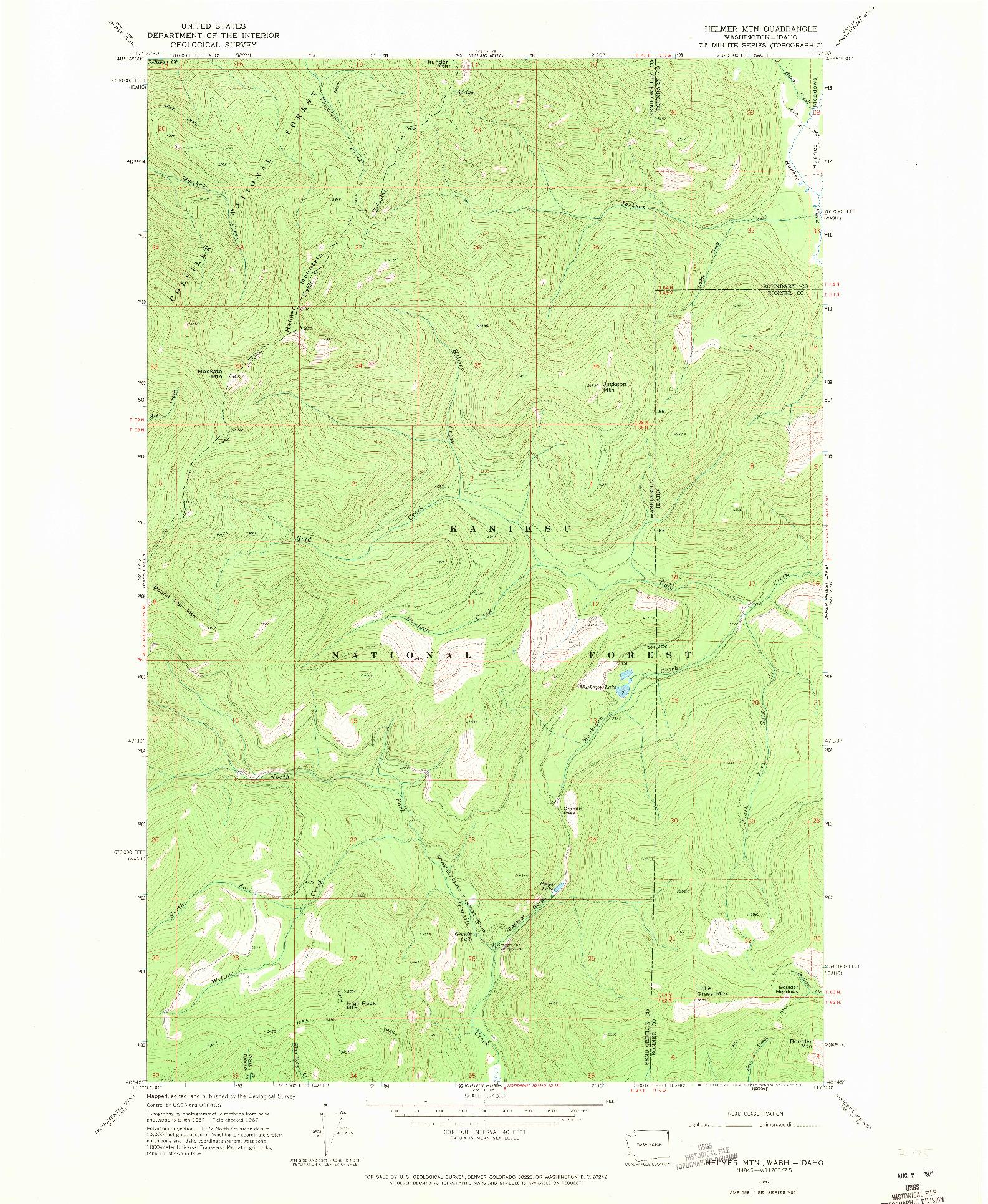 USGS 1:24000-SCALE QUADRANGLE FOR HELMER MTN, WA 1967