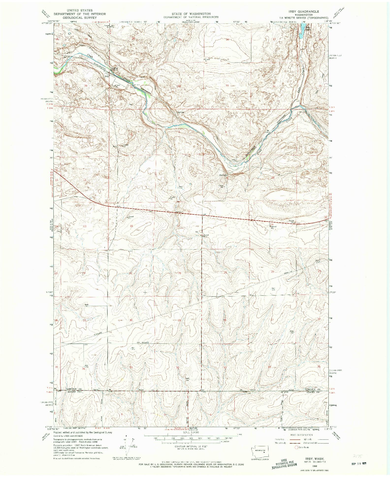 USGS 1:24000-SCALE QUADRANGLE FOR IRBY, WA 1968