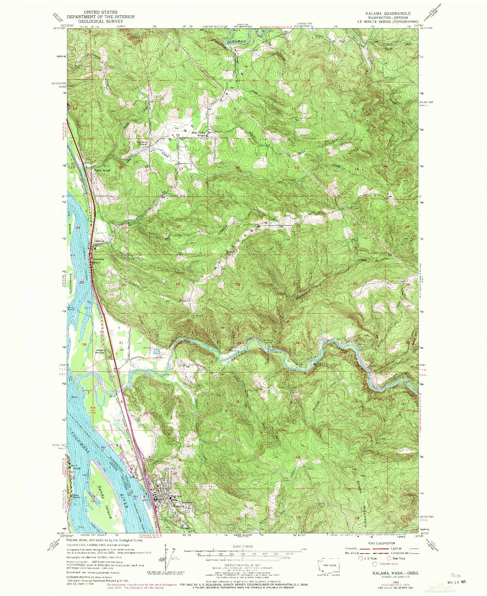 USGS 1:24000-SCALE QUADRANGLE FOR KALAMA, WA 1953