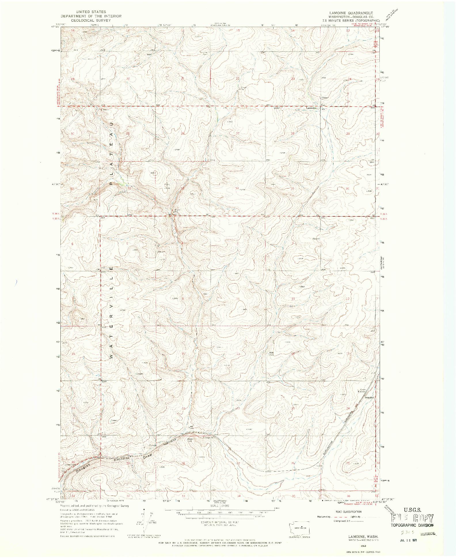 USGS 1:24000-SCALE QUADRANGLE FOR LAMOINE, WA 1968